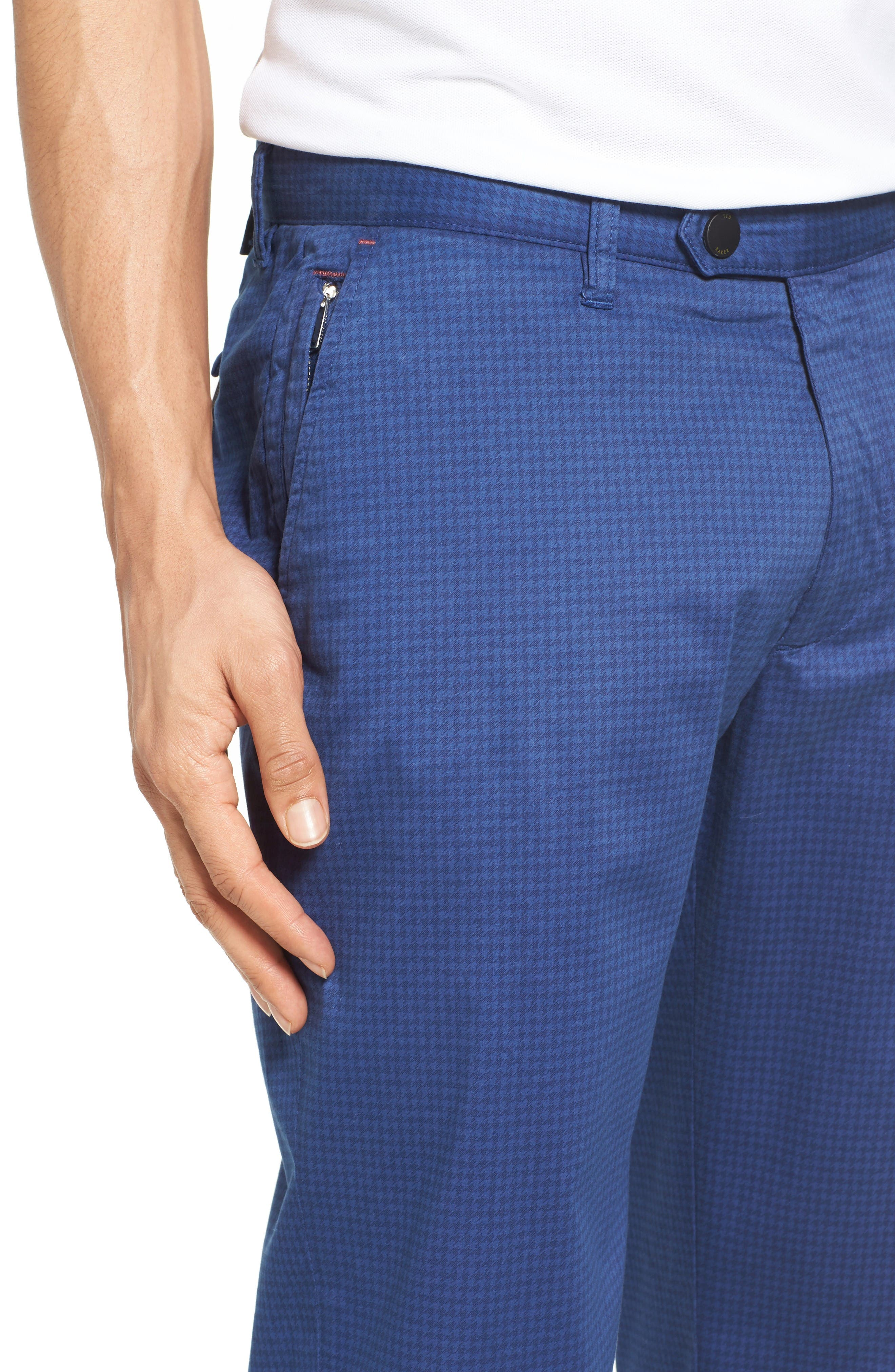 Houndstooth Print Golf Chinos,                             Alternate thumbnail 4, color,                             Blue