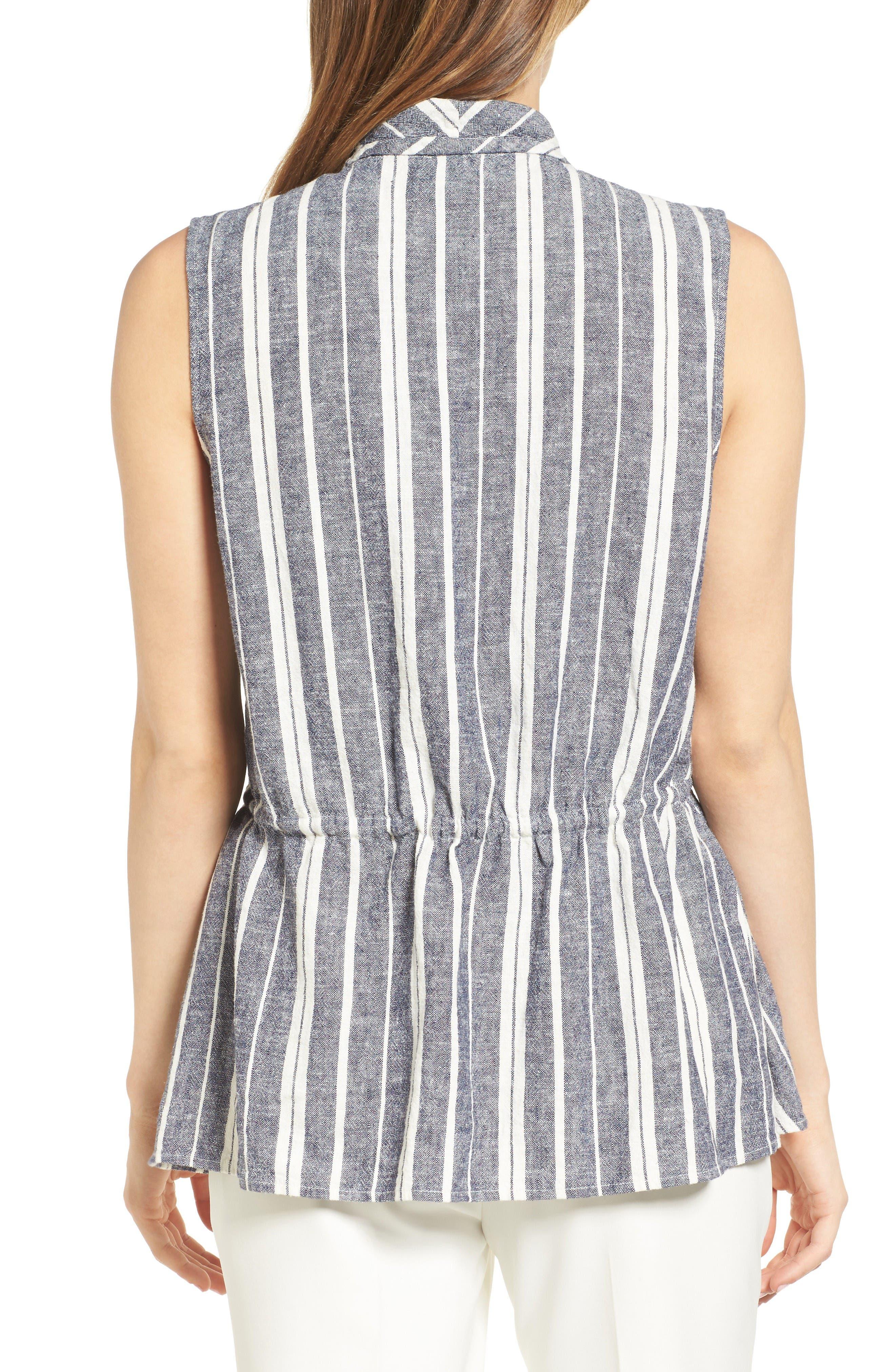 Alternate Image 2  - Chaus Stripe Linen Blend Vest
