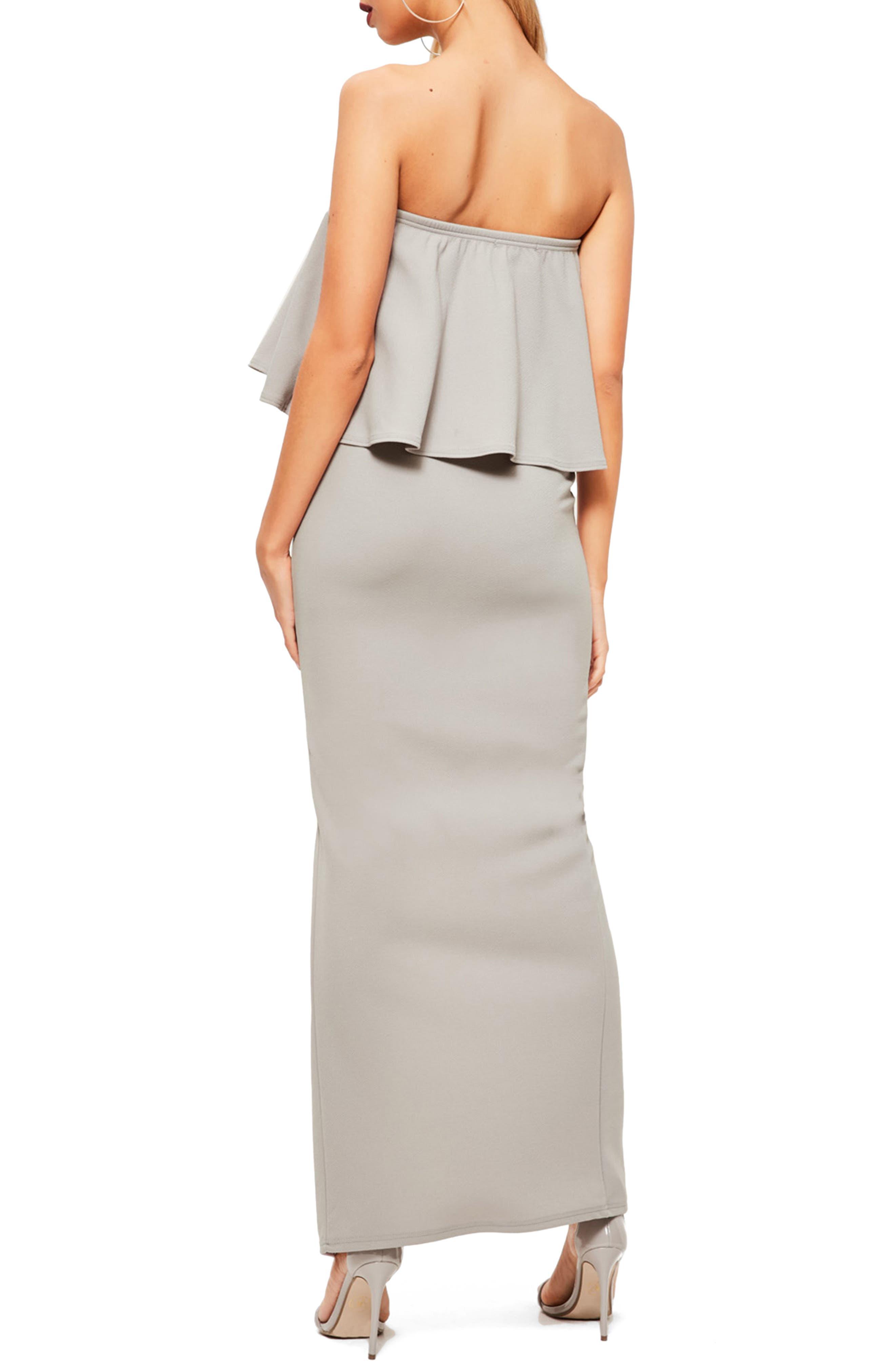 Strapless Popover Maxi Dress,                             Alternate thumbnail 2, color,                             Grey