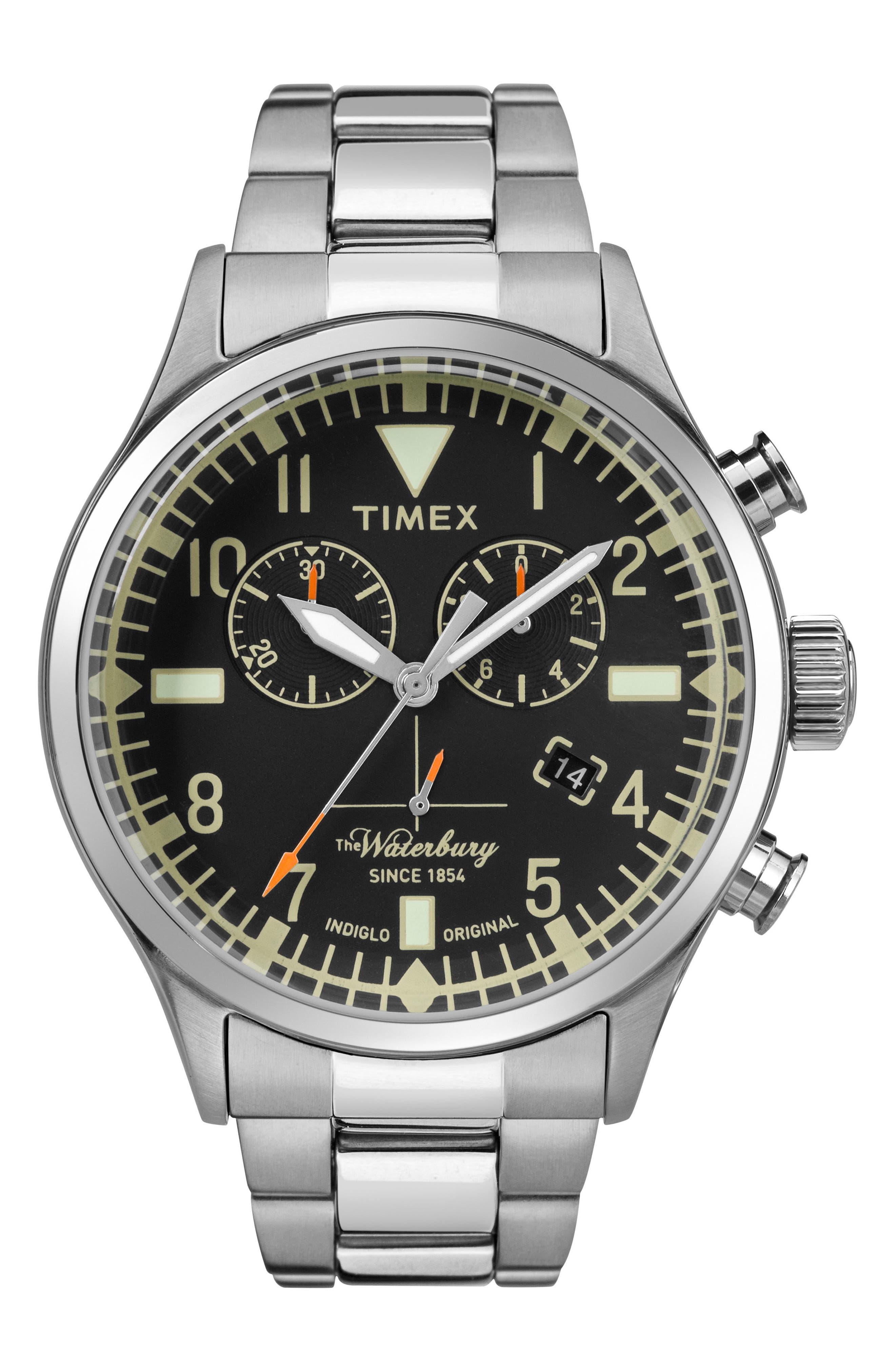 Timex® Waterbury Chronograph Bracelet Watch, 42mm