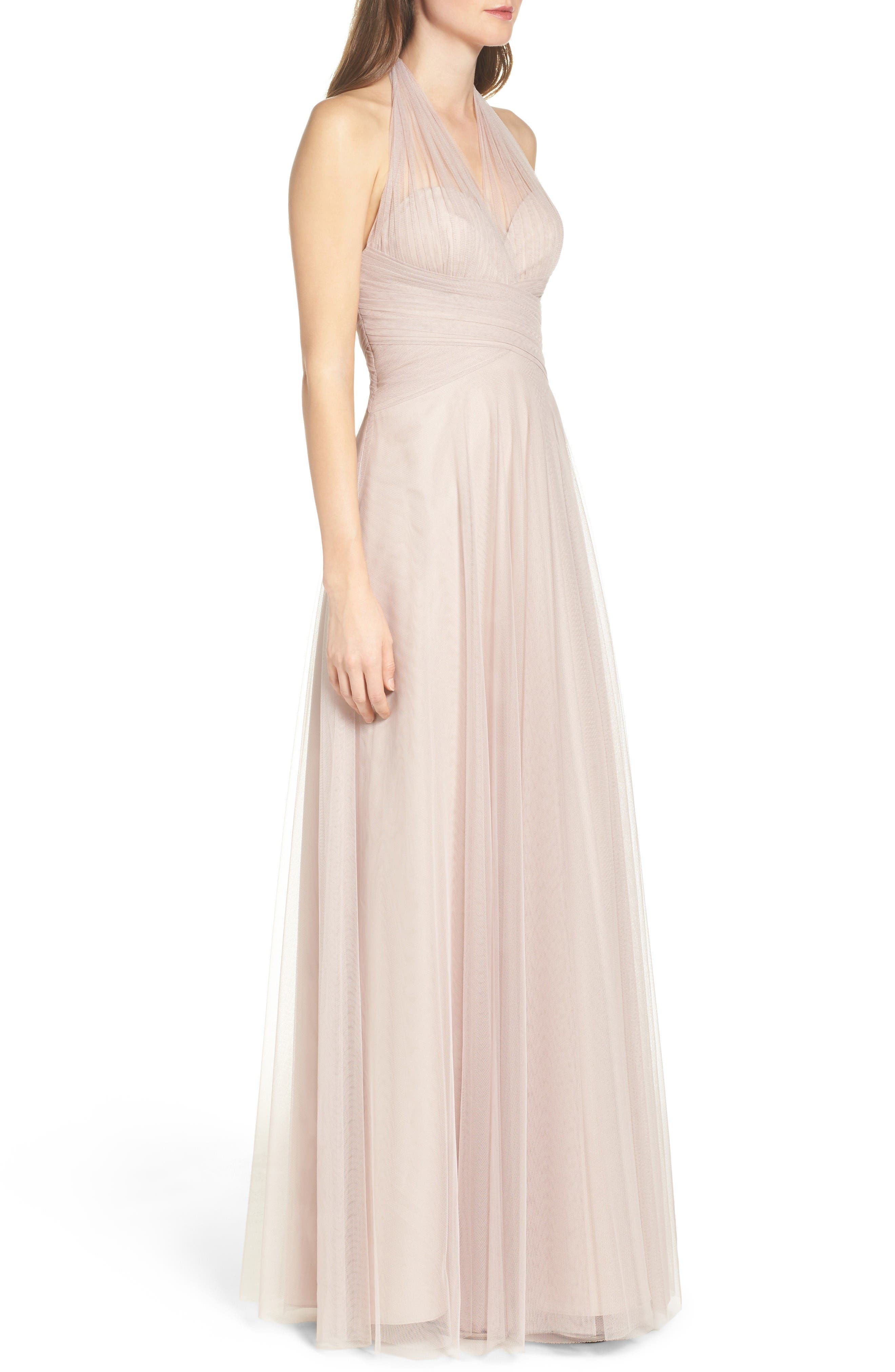 Halter Tulle A-Line Gown,                             Alternate thumbnail 4, color,                             Latte