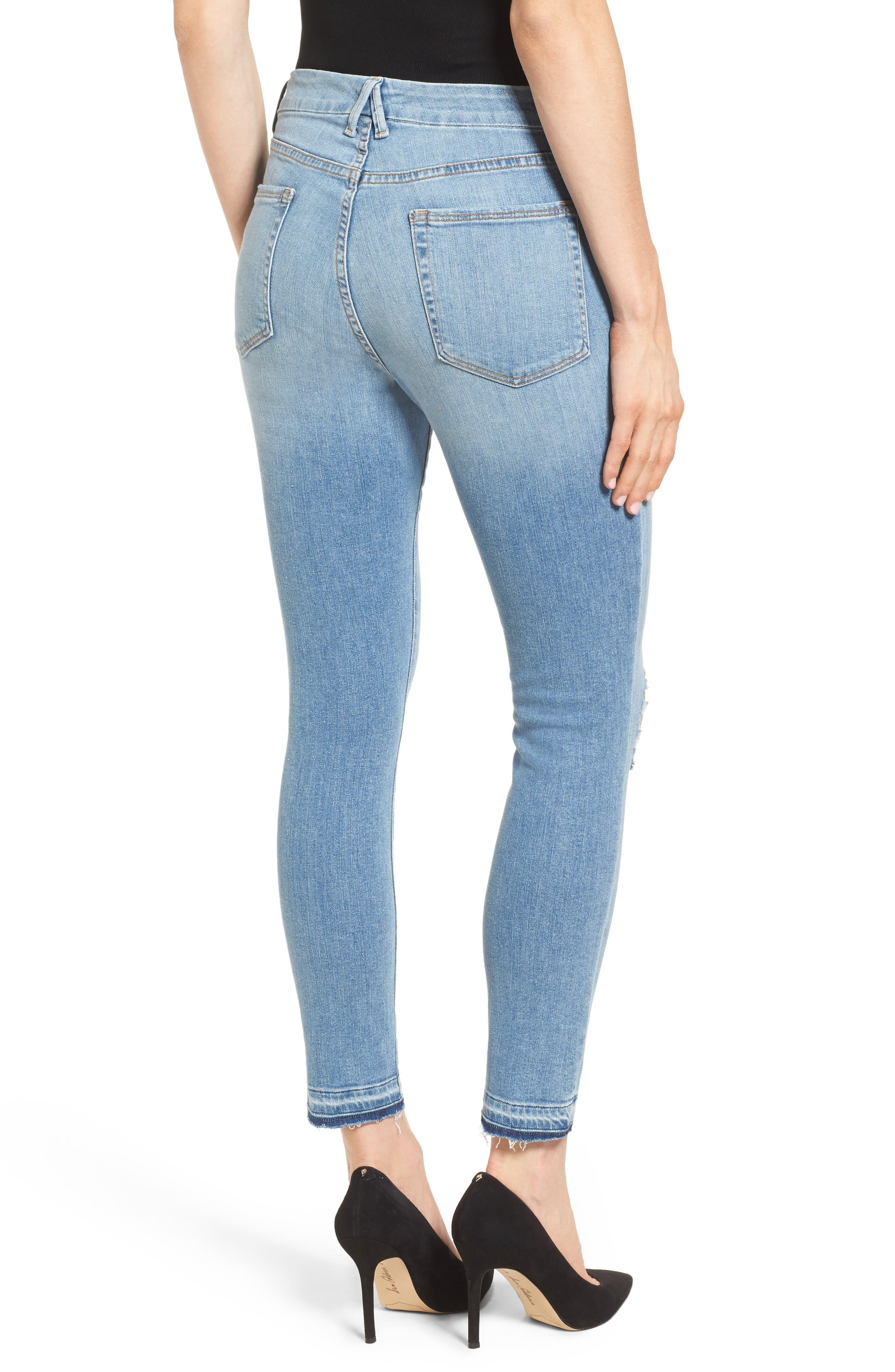 Good Legs Released Hem Skinny Jeans,                             Alternate thumbnail 2, color,                             Blue 023
