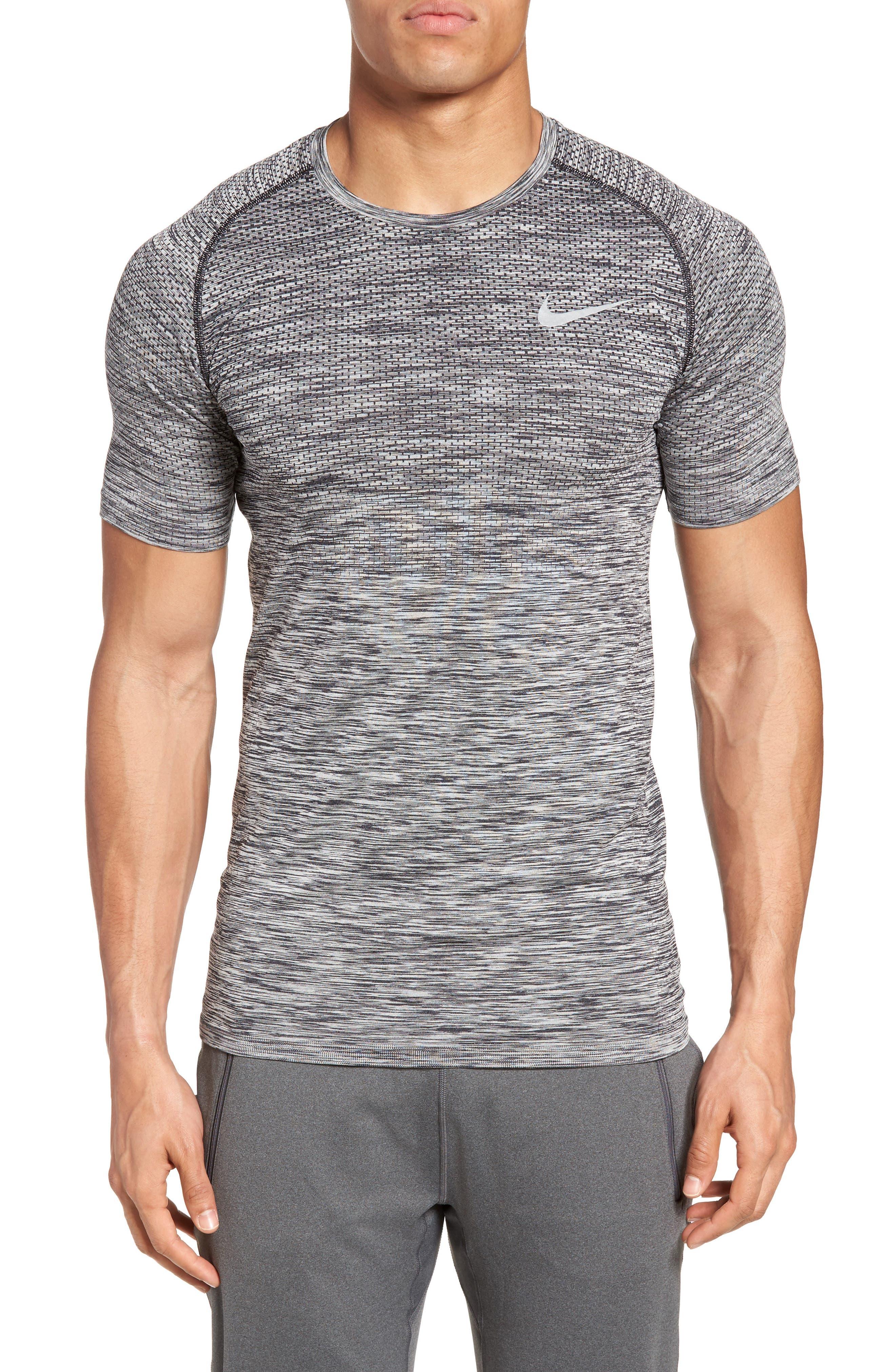 Men Dry Knit Running T-Shirt,                             Main thumbnail 1, color,                             Black/ Heather
