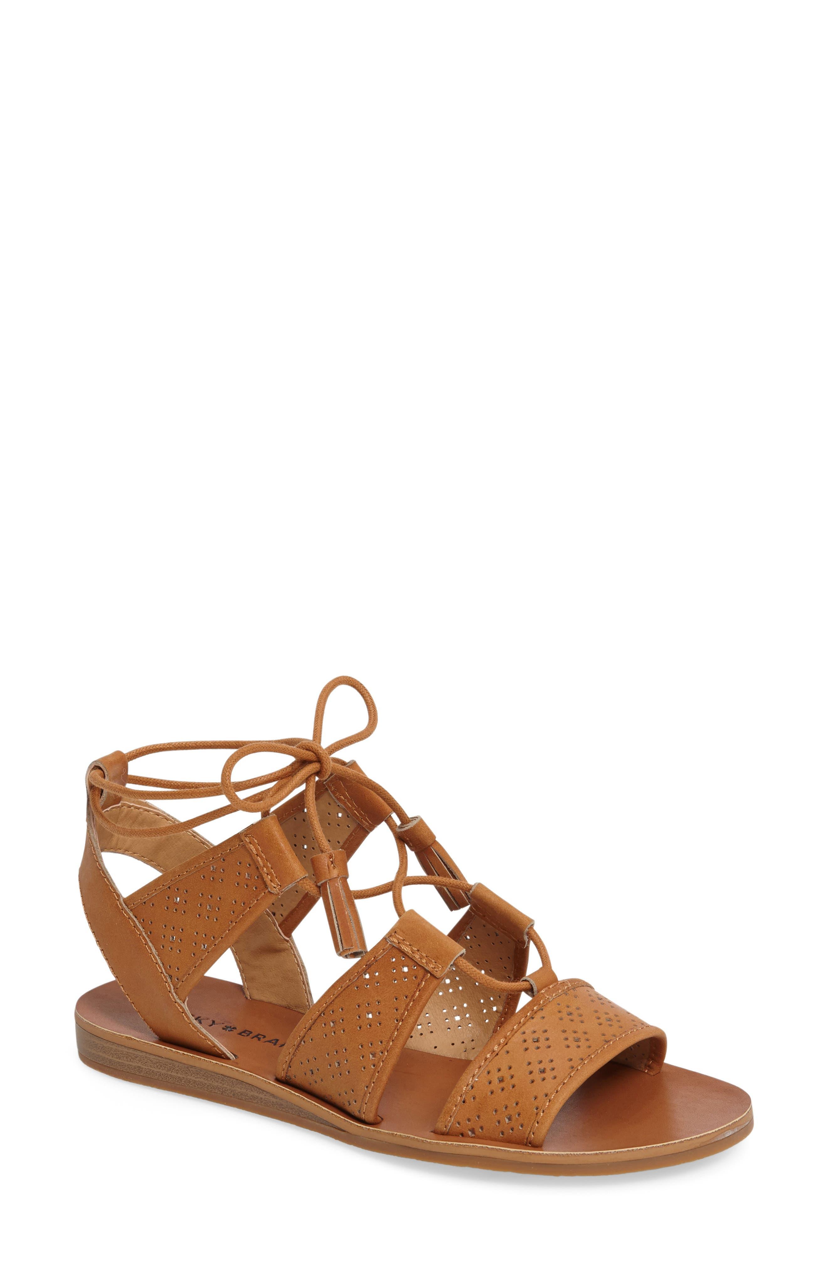 Brenny Sandal,                         Main,                         color, Cafe Leather