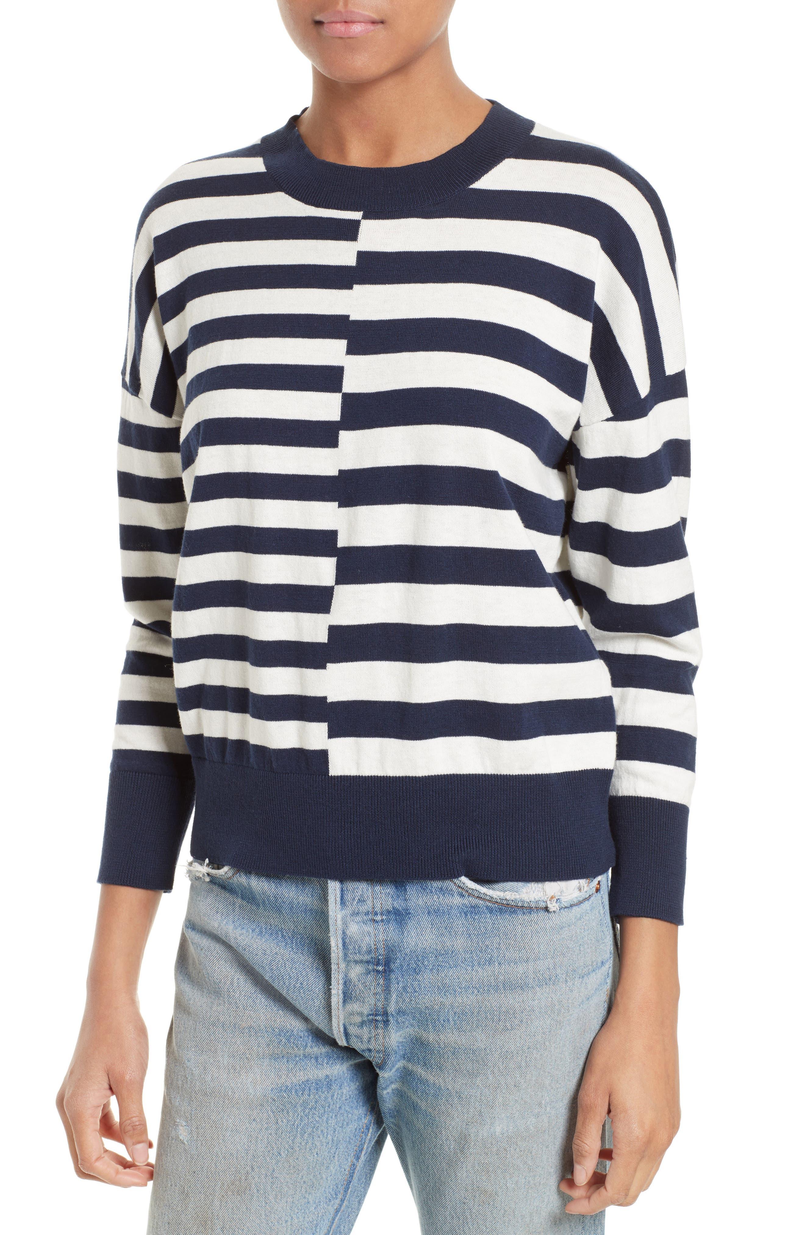 Alternate Image 4  - Equipment Melanie Stripe Cotton & Silk Sweater