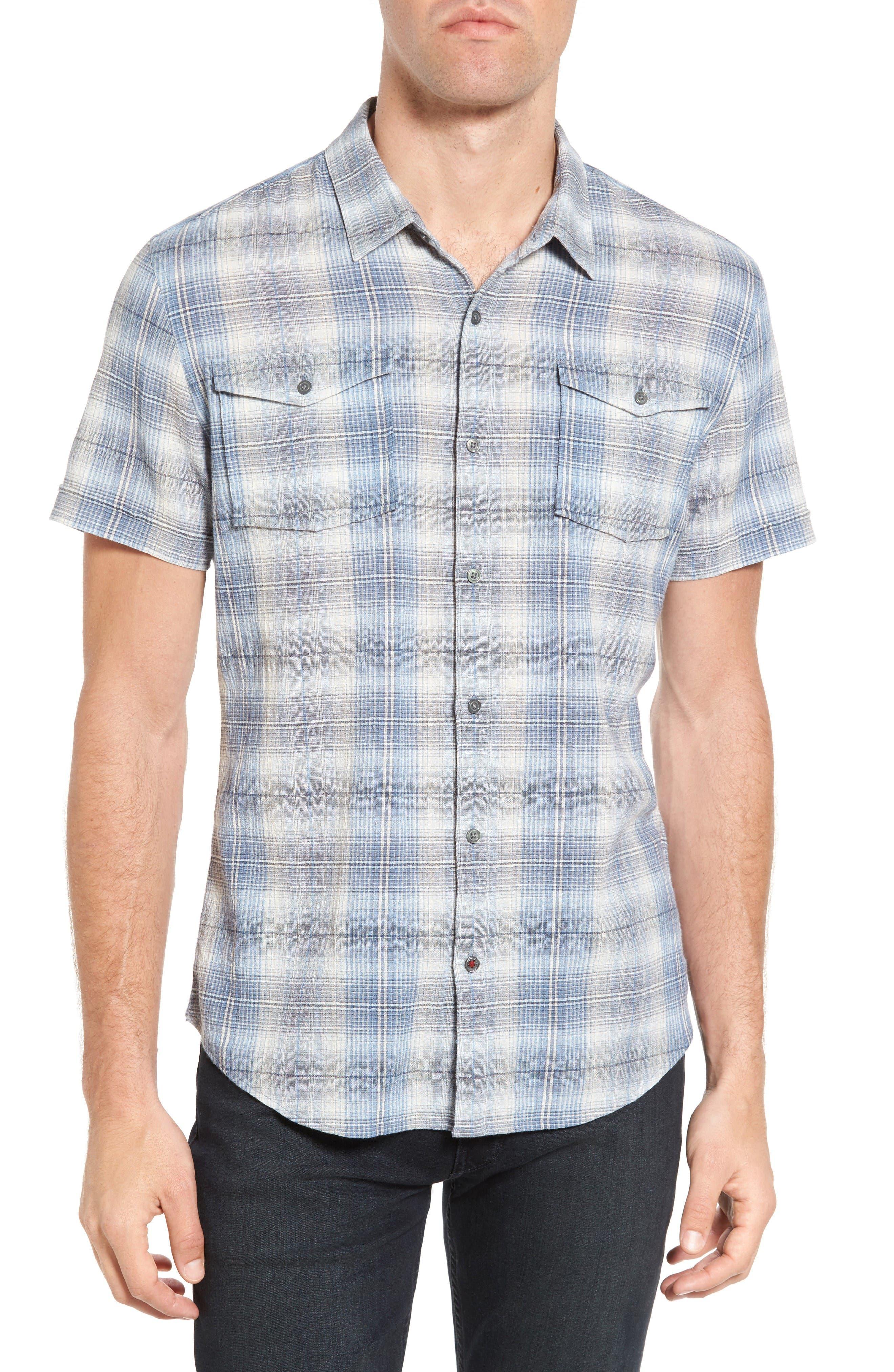 Trim Fit Plaid Sport Shirt,                             Main thumbnail 1, color,                             Water Blue