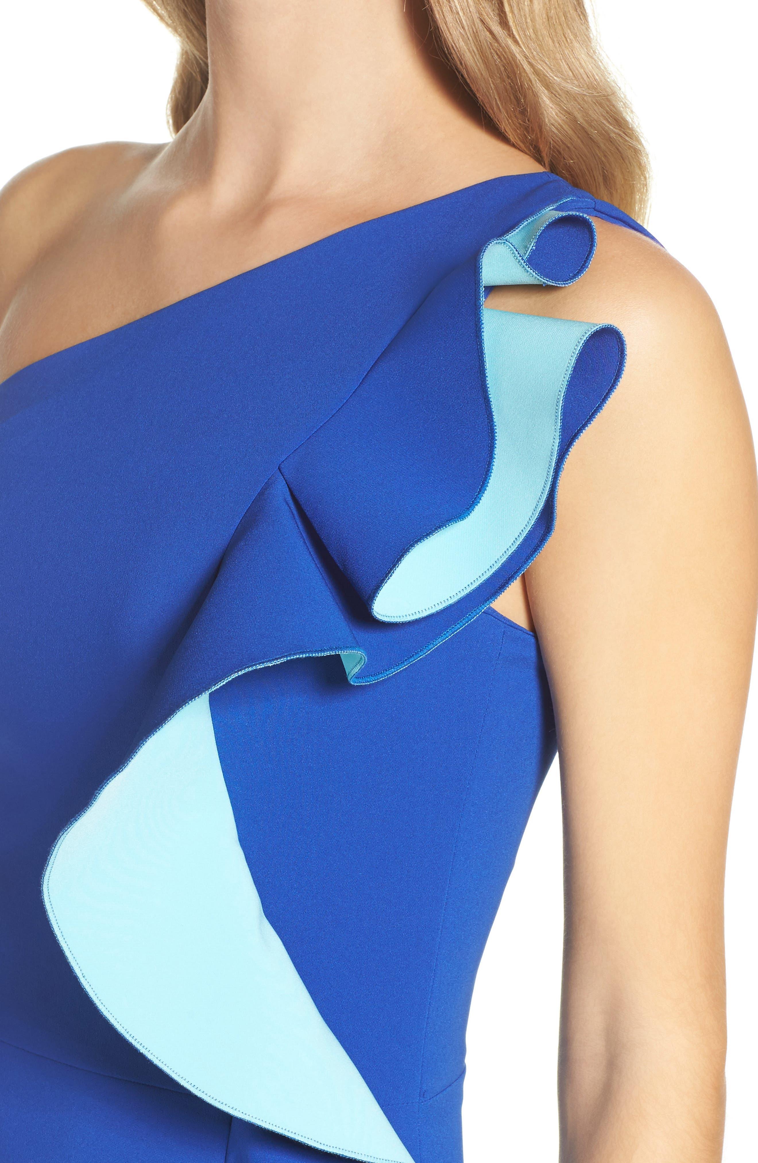 Alternate Image 4  - Maria Bianca Nero Colorblock Ruffle One-Shoulder Gown