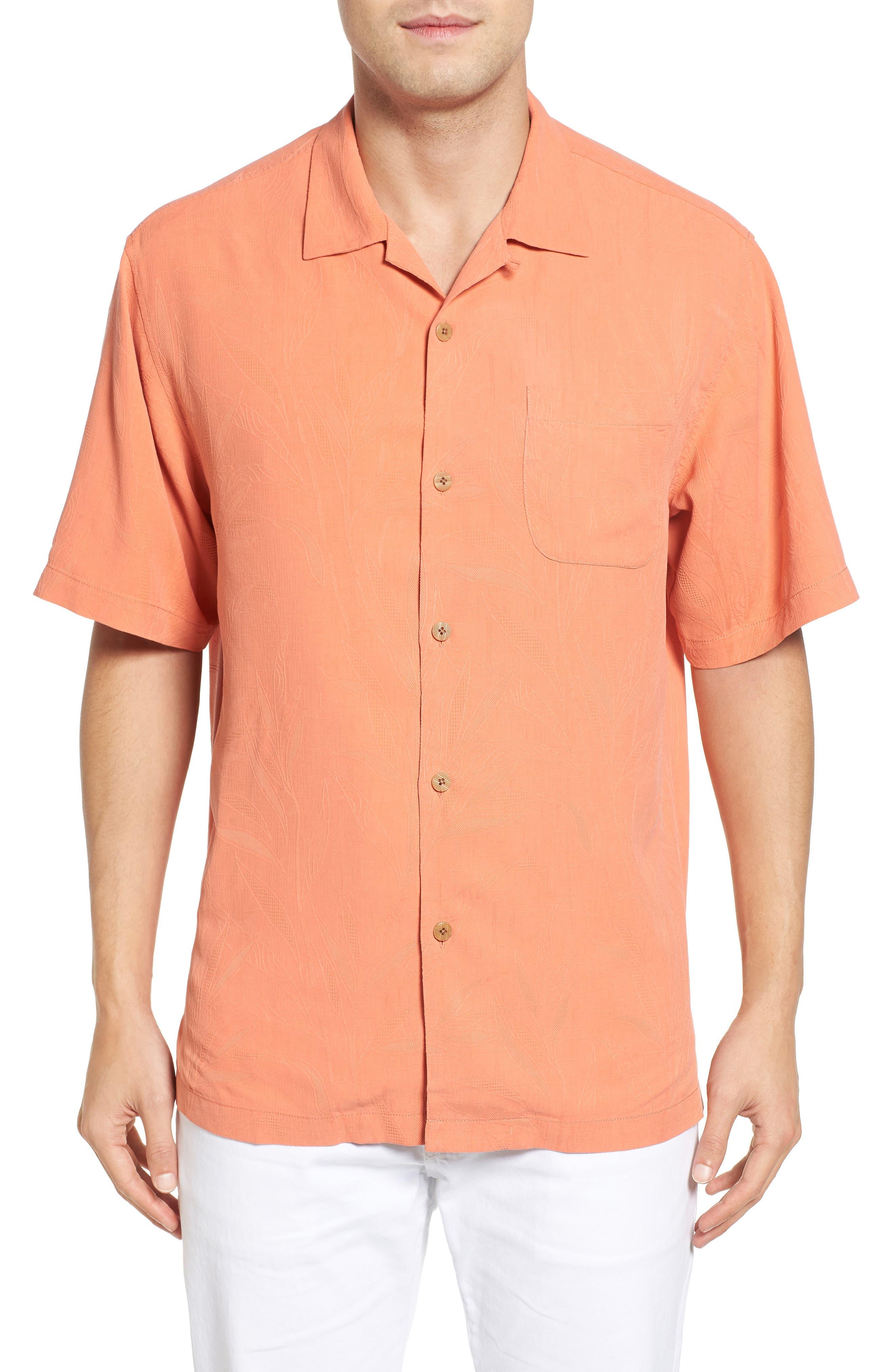Islander Fronds Silk Camp Shirt,                         Main,                         color, Melon Sorbet