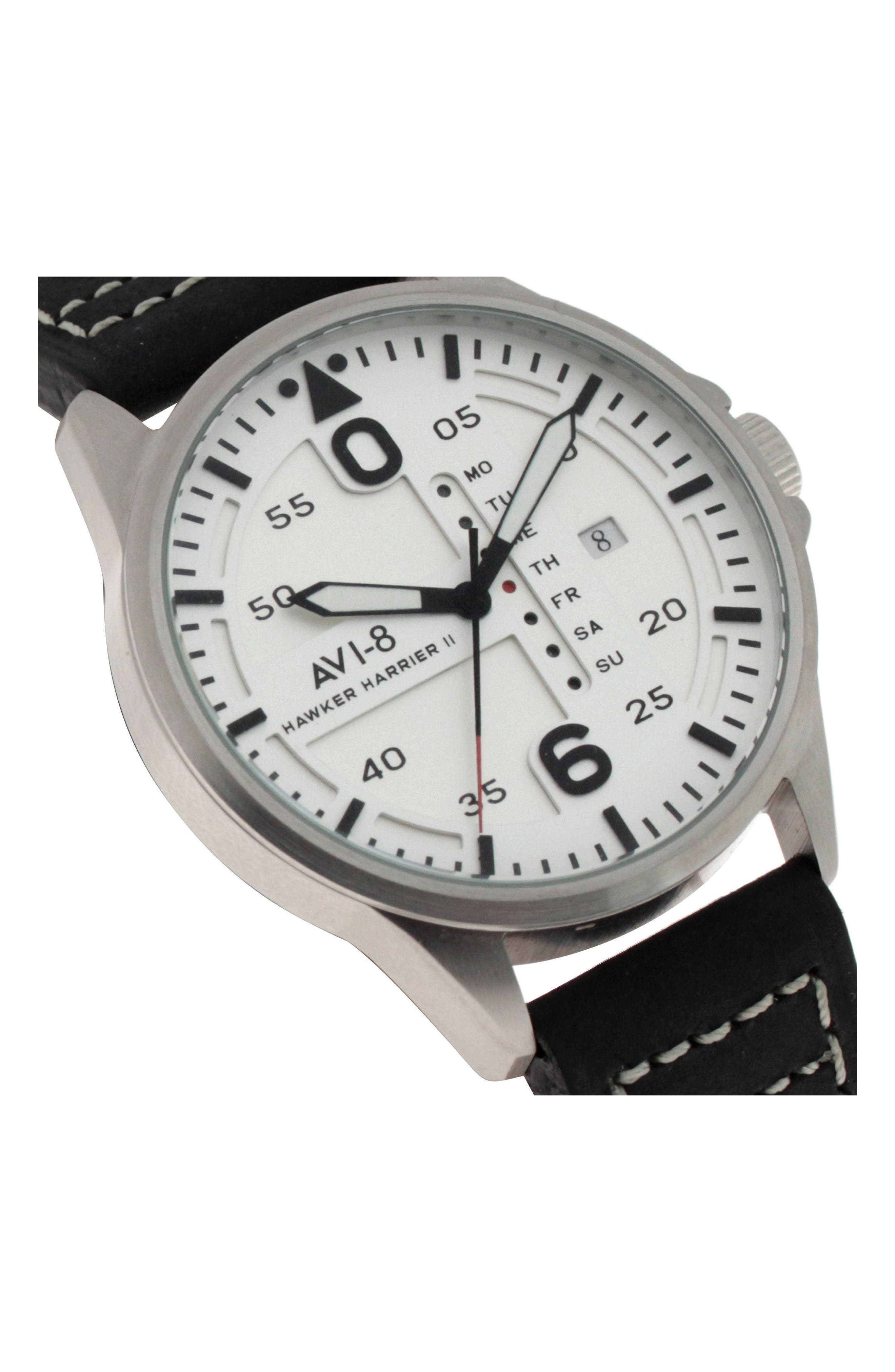 Hawker Harrier II Leather Strap Watch, 45mm,                             Alternate thumbnail 4, color,                             White/ Charcoal