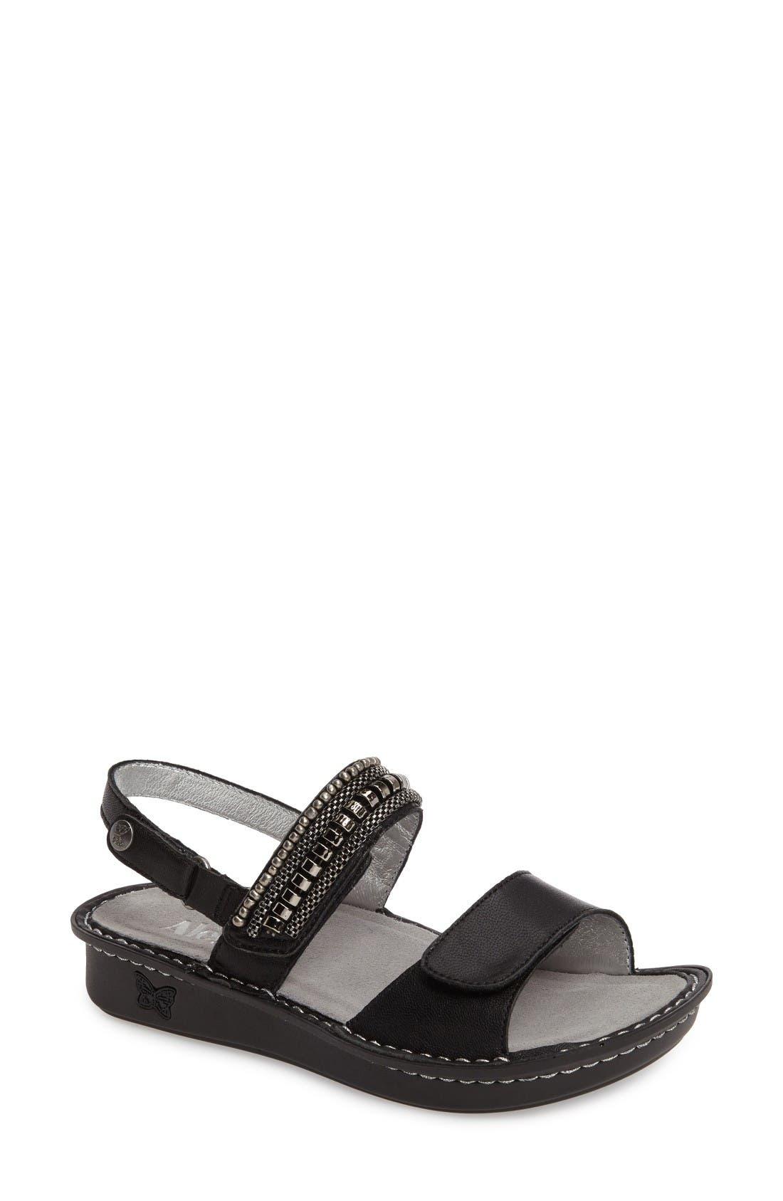 'Verona' Sandal,                             Main thumbnail 1, color,                             Coal Chain Gang Leather
