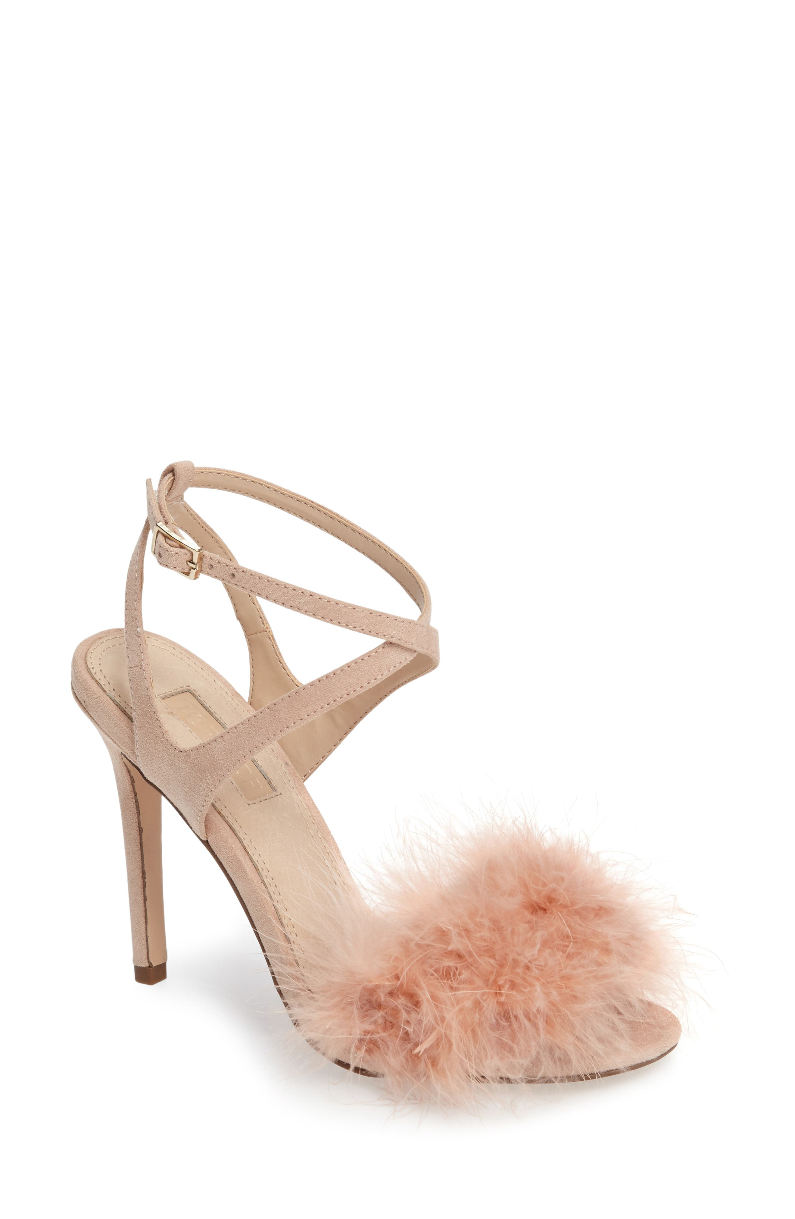Topshop Reine Feathered Sandal (Women)