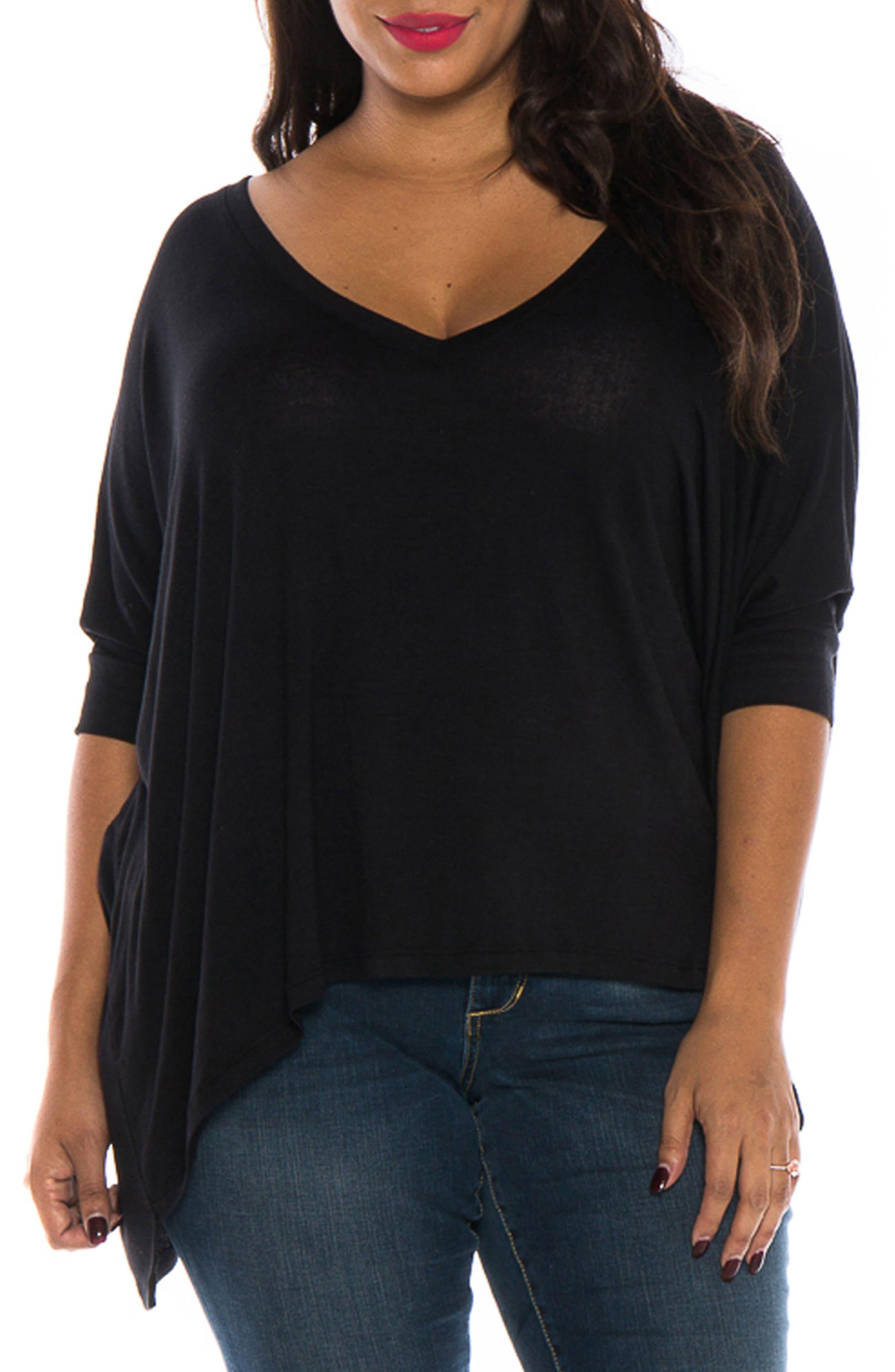 Alternate Image 1 Selected - SLINK Jeans V-Neck Tee (Plus Size)