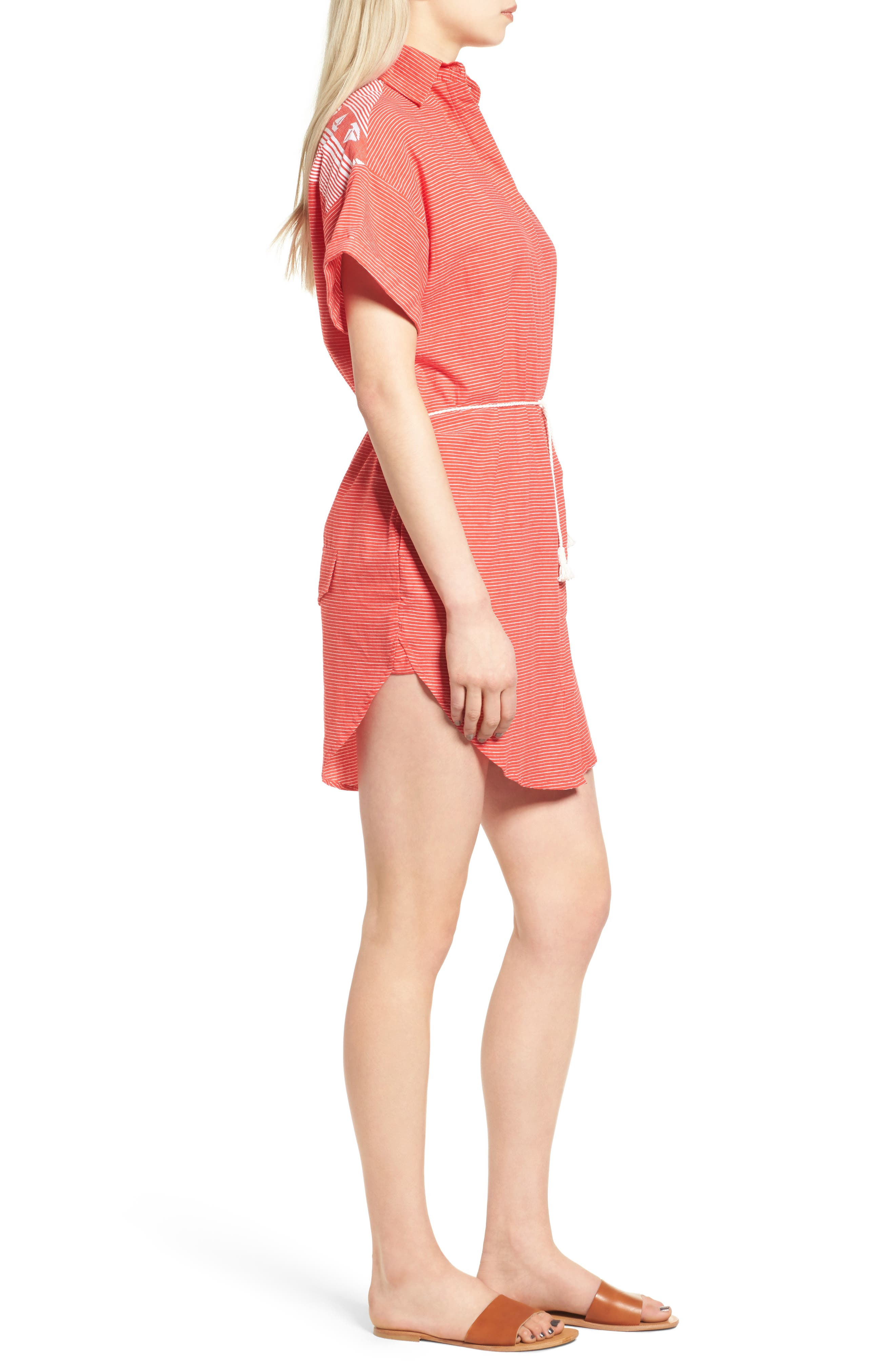 Avalon Cotton Shirtdress,                             Alternate thumbnail 4, color,                             Deep Sea Print Red