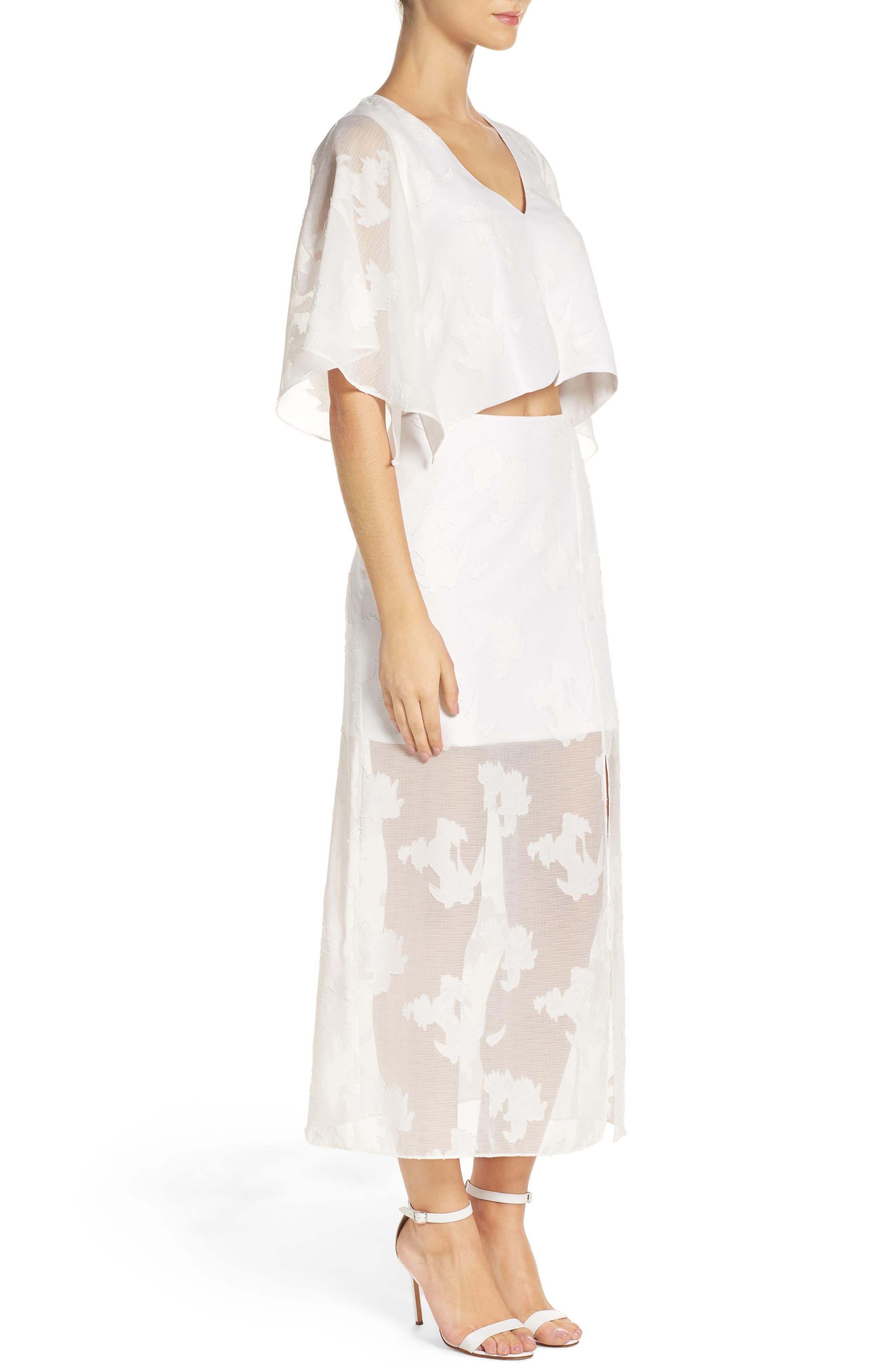 Two-Piece Dress,                             Alternate thumbnail 4, color,                             White Floral