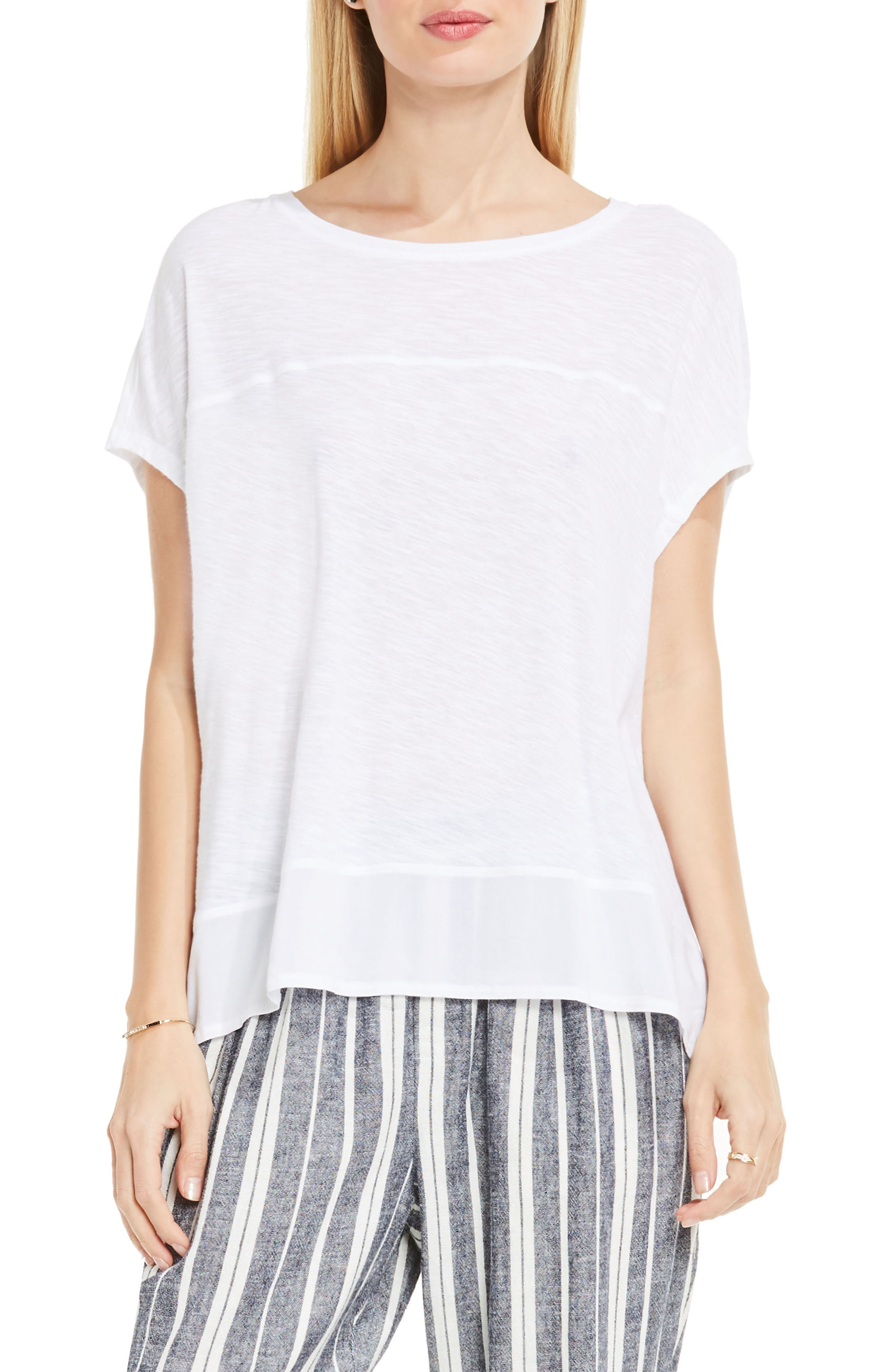 Two by Vince Camuto Chiffon High/Low Hem Knit Tee