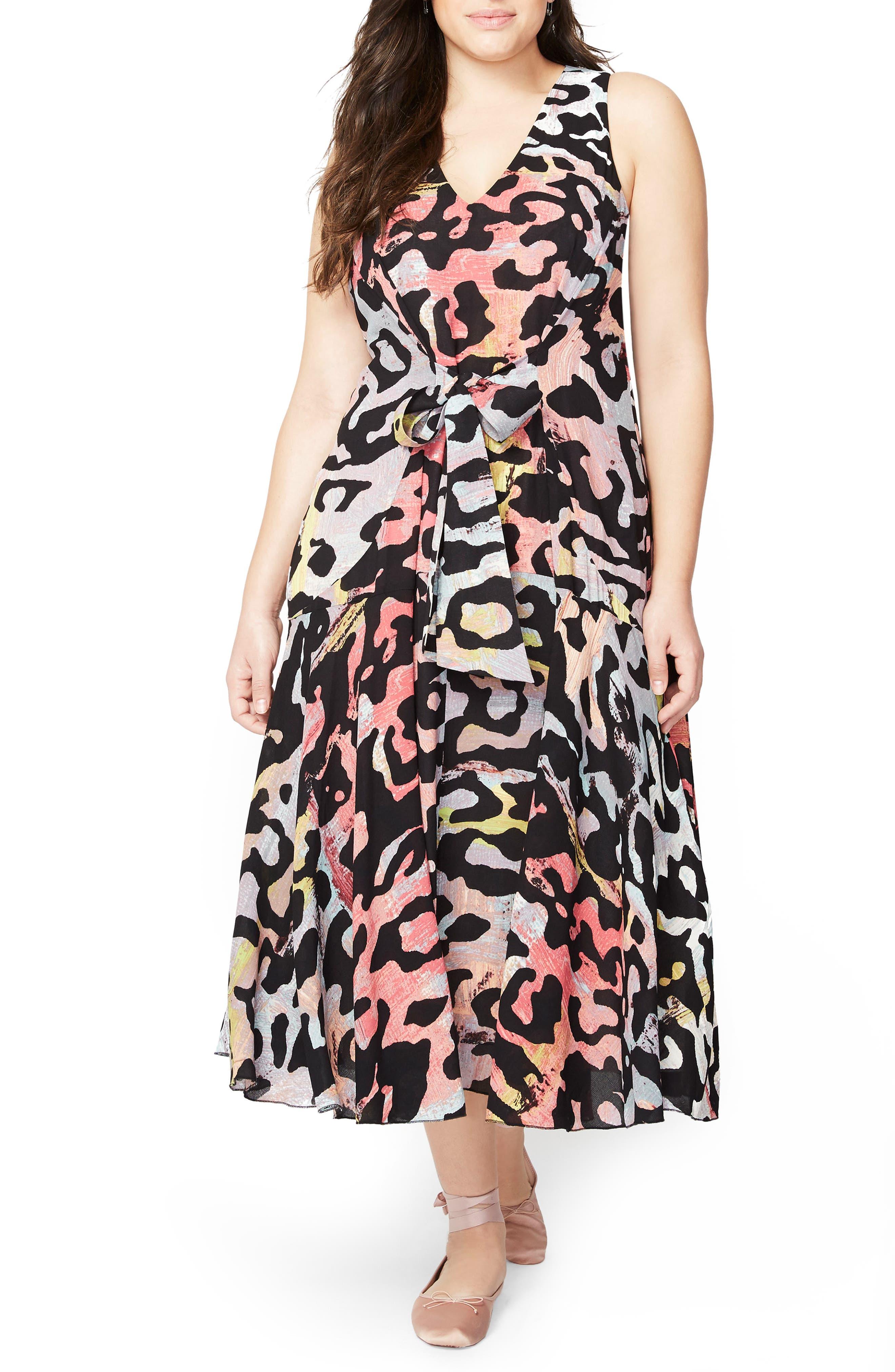 Tie Front Midi Dress,                         Main,                         color, Multi Black Combo