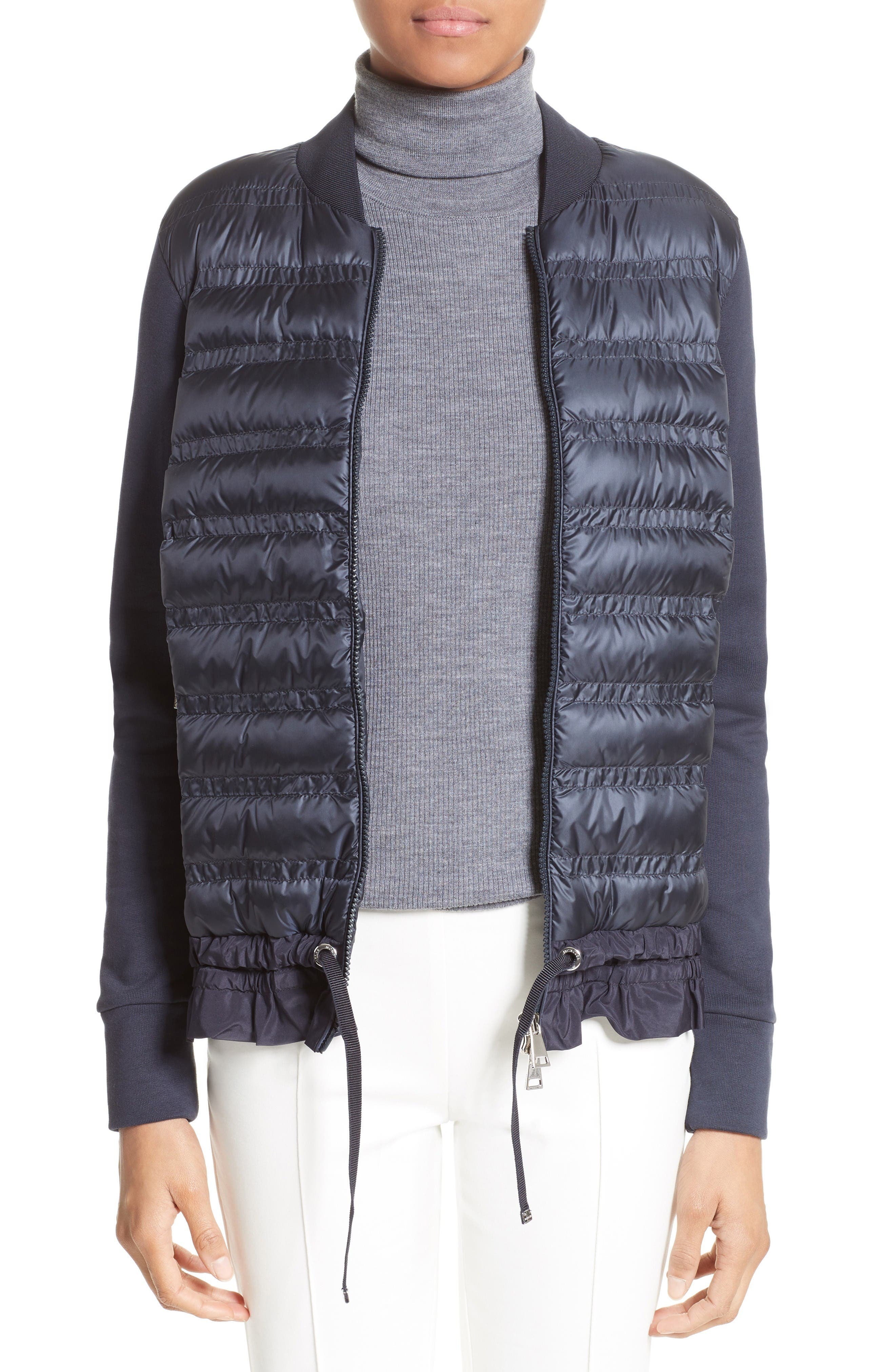 Main Image - Moncler Maglia Quilted Down Front Tricot Bomber