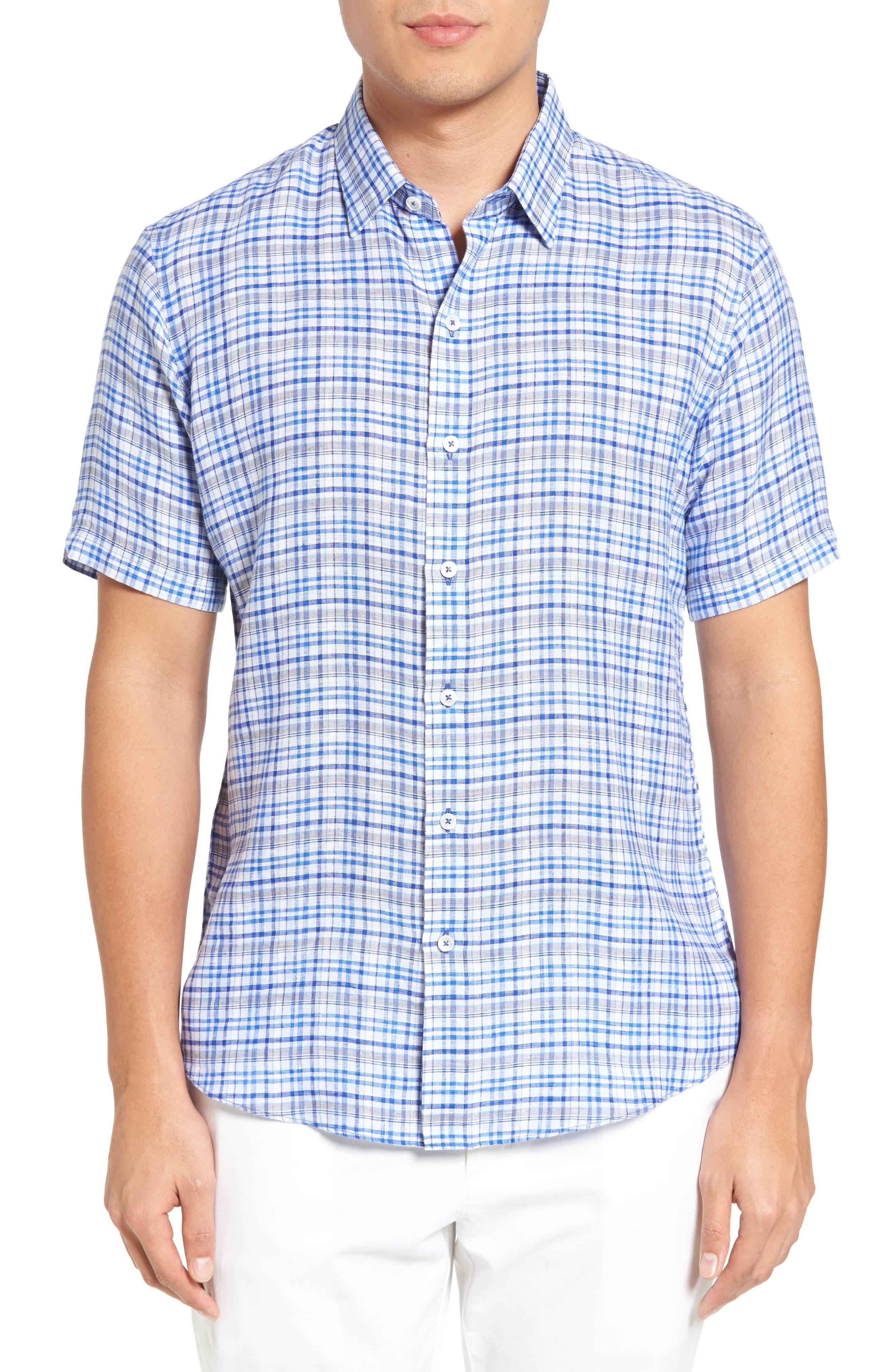 Bean Trim Fit Plaid Linen Sport Shirt,                         Main,                         color, Royal
