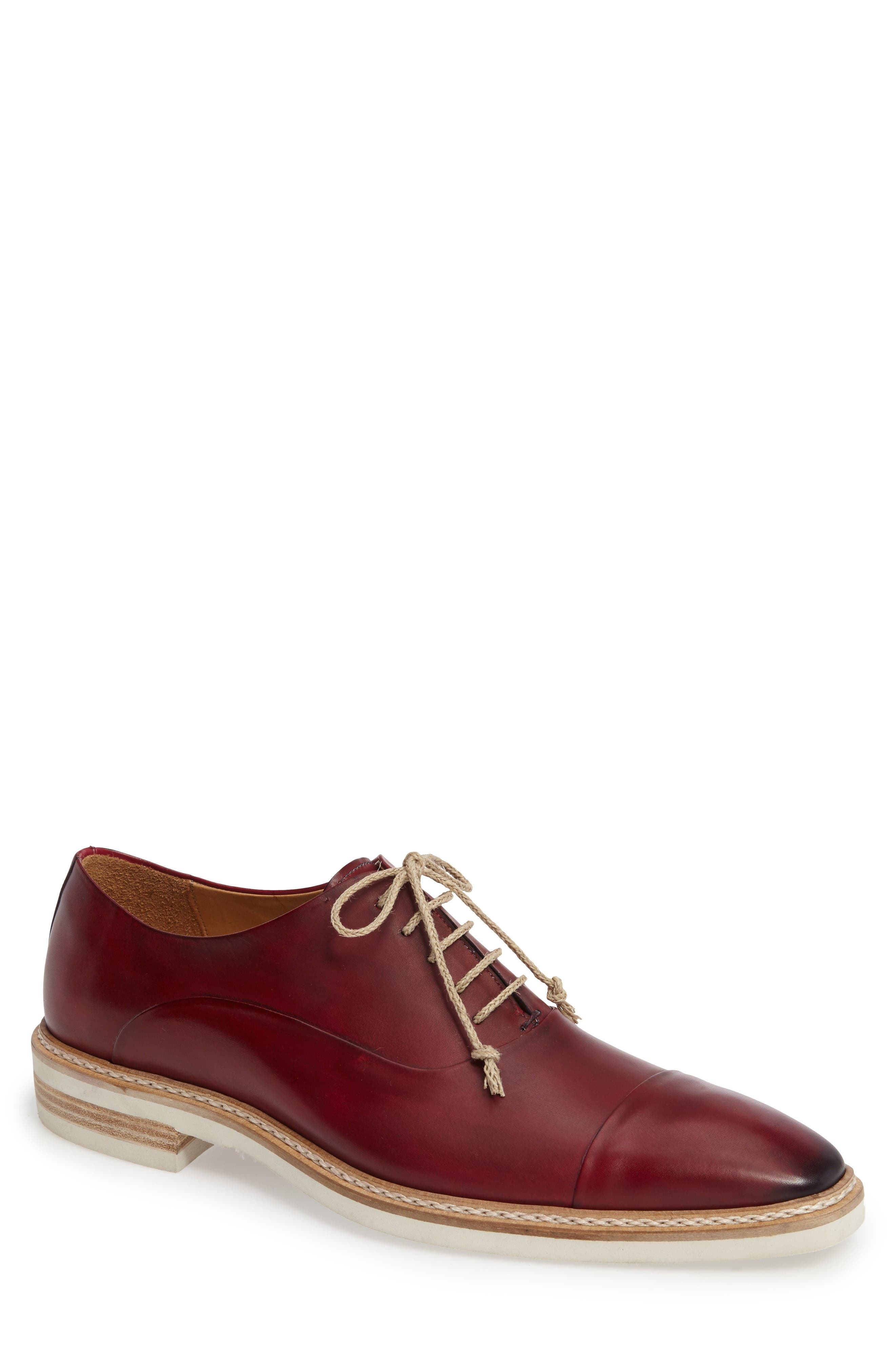 Curie Cap Toe Oxford,                             Main thumbnail 1, color,                             Burgundy Leather
