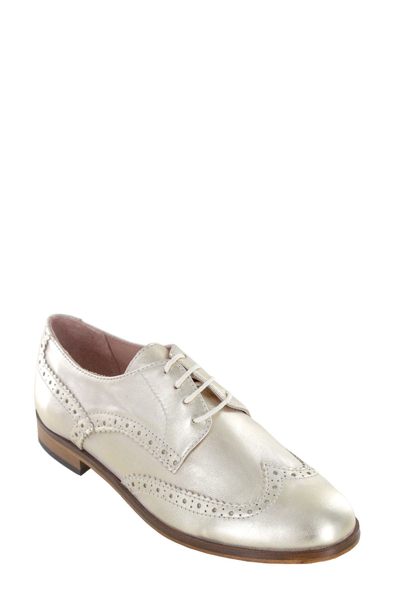 Dawson Oxford Flat,                             Main thumbnail 1, color,                             Platinum Leather