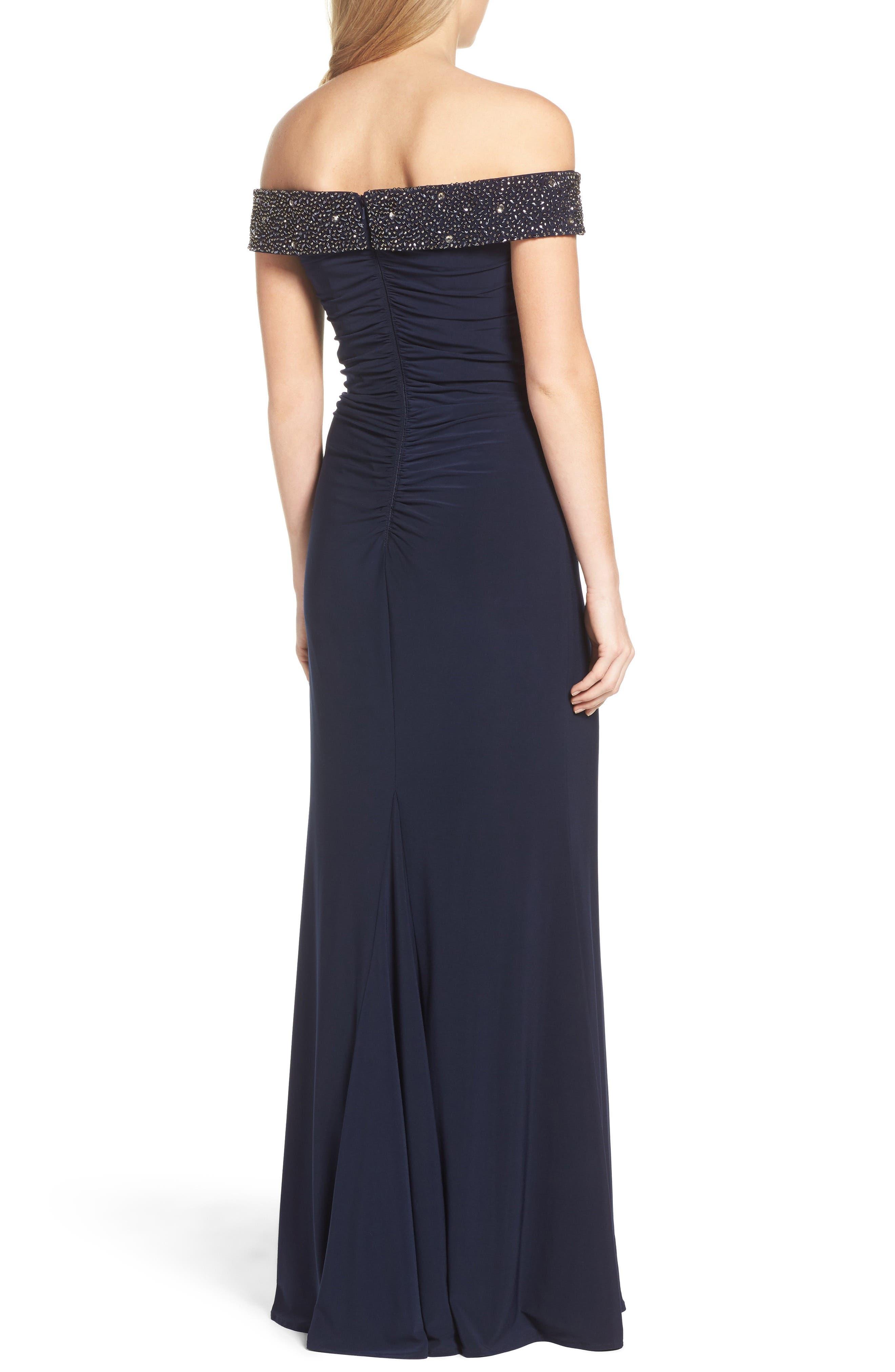 Alternate Image 2  - Xscape Off the Shoulder Beaded Gown (Regular & Petite)