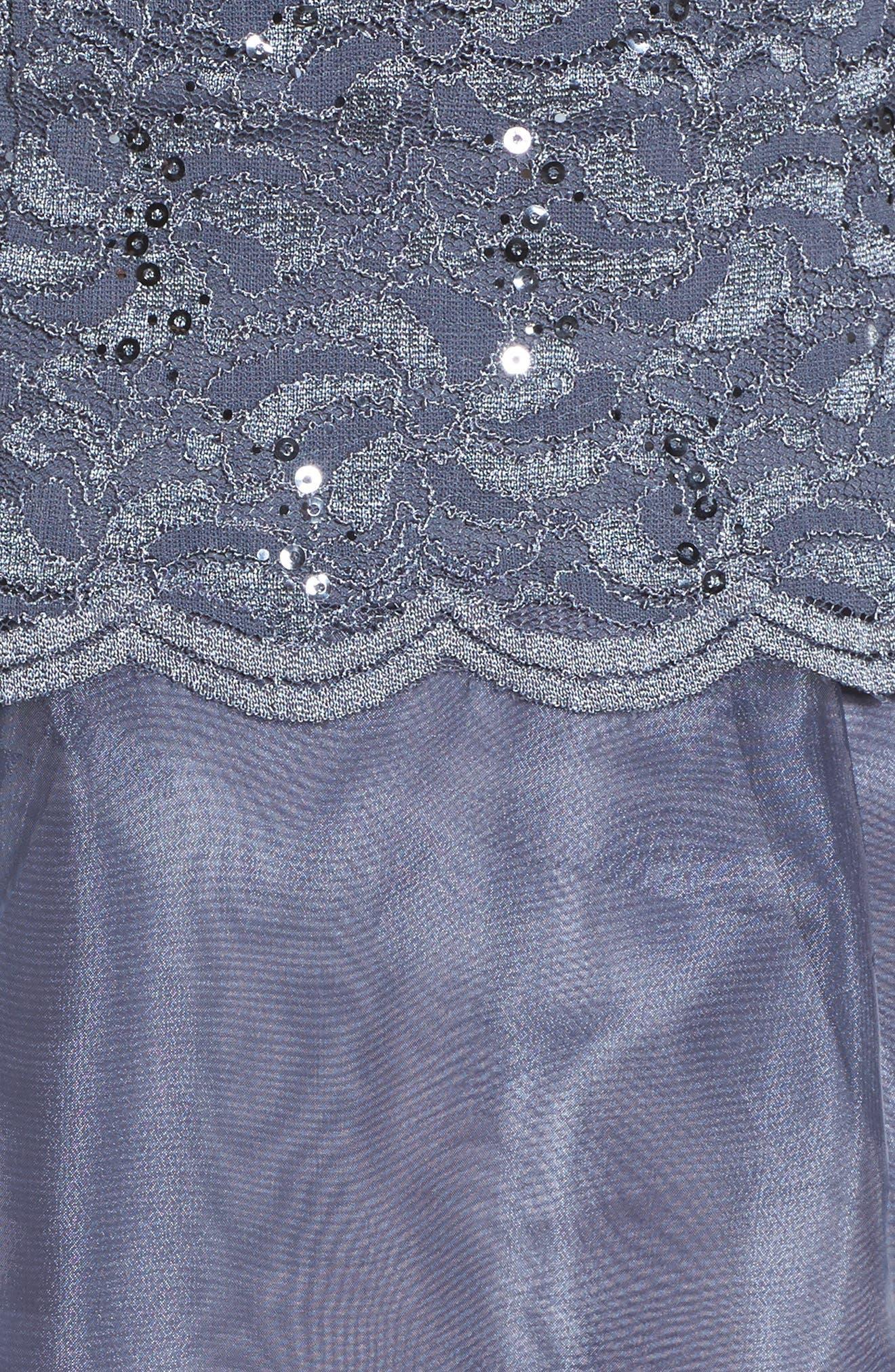 Alternate Image 5  - Alex Evenings Mixed Media Fit & Flare Dress (Regular & Petite)