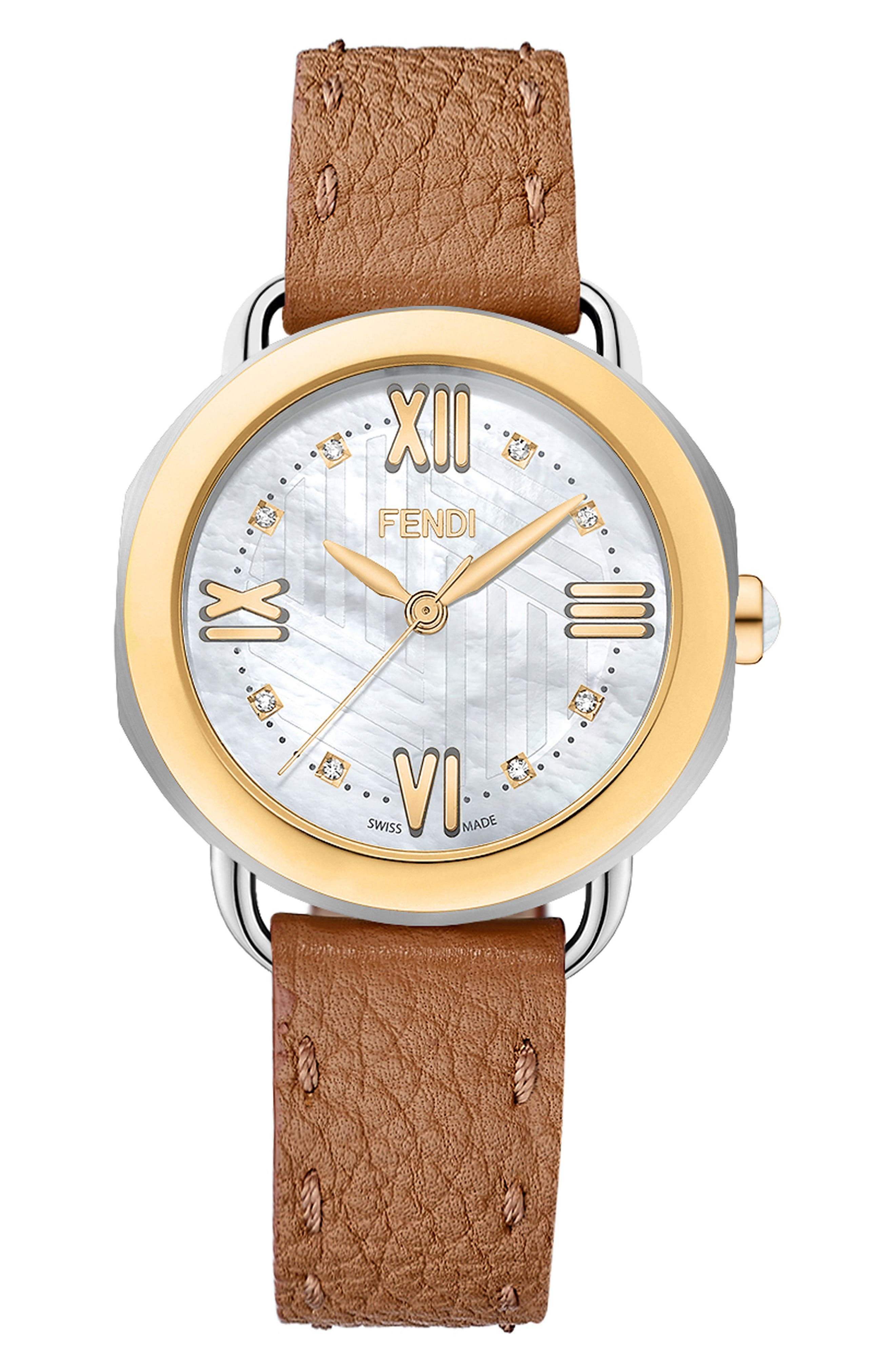 Main Image - Fendi Selleria Mother of Pearl Leather Strap Watch, 36mm