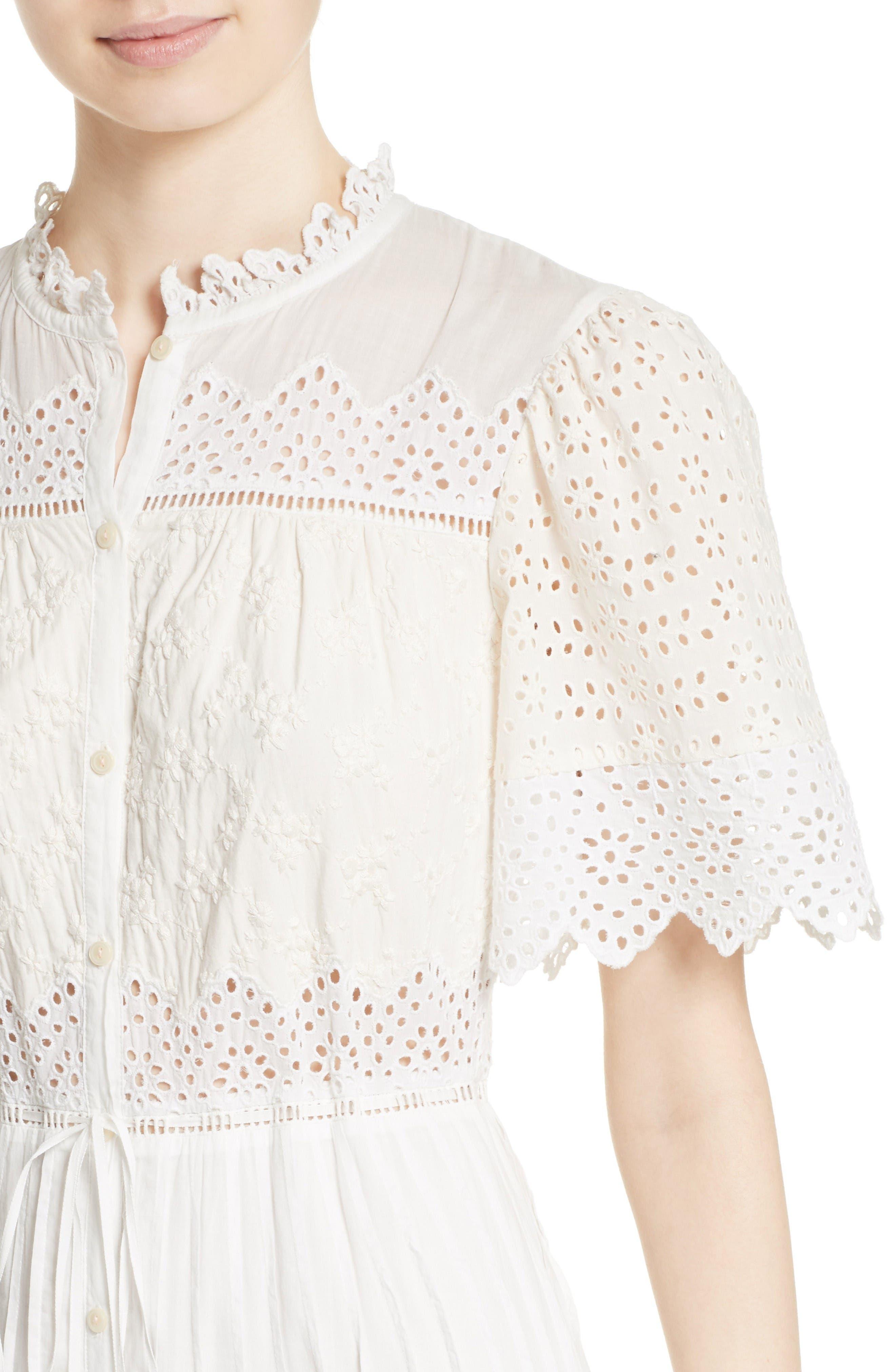 Alternate Image 5  - La Vie Rebecca Taylor Embroidered Voile Midi Dress