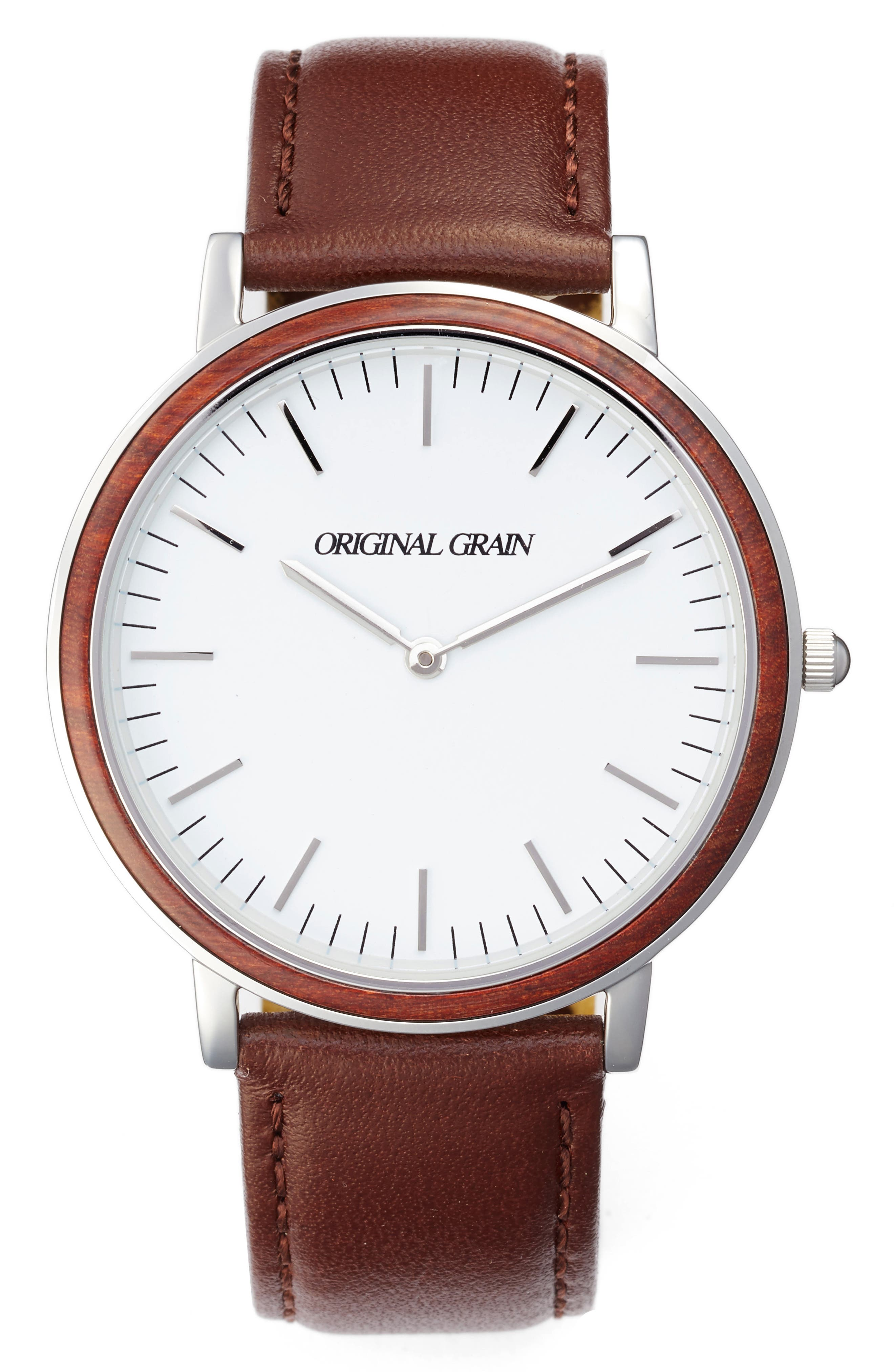 Minimalist Leather Strap Watch, 40mm,                         Main,                         color, White/ Brown