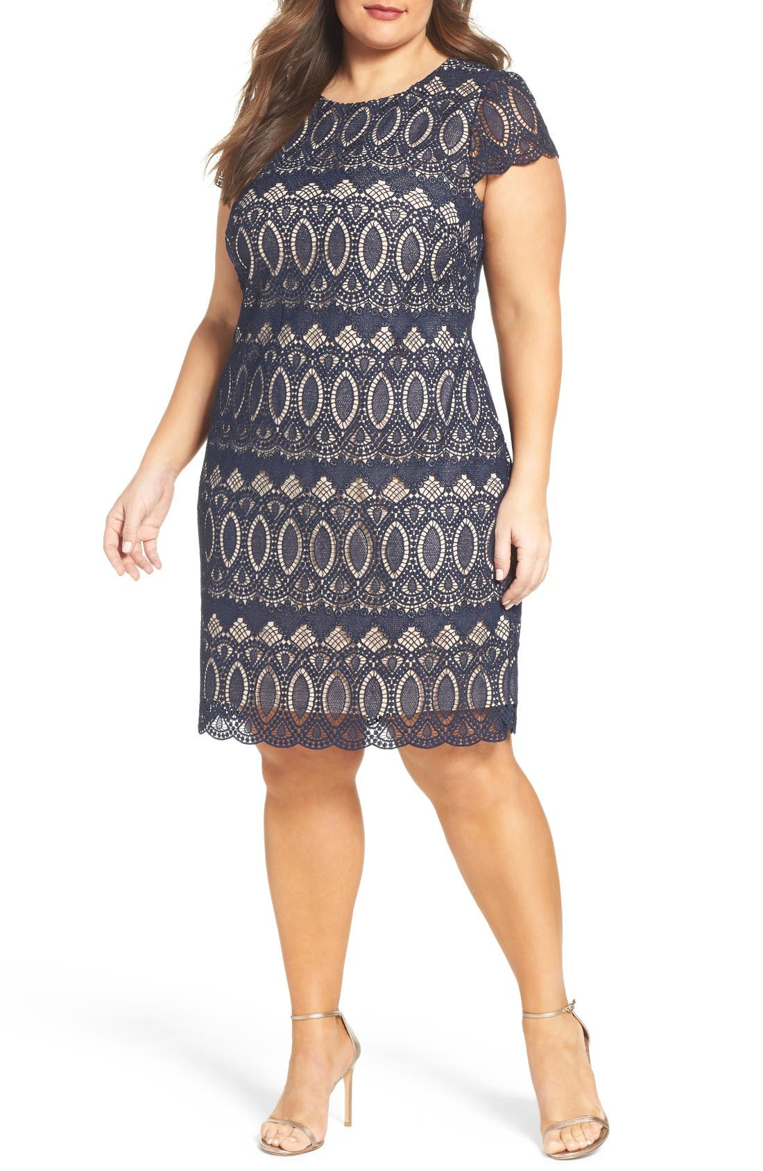 Main Image - Eliza J Cap Sleeve Lace Shift Dress (Plus Size)