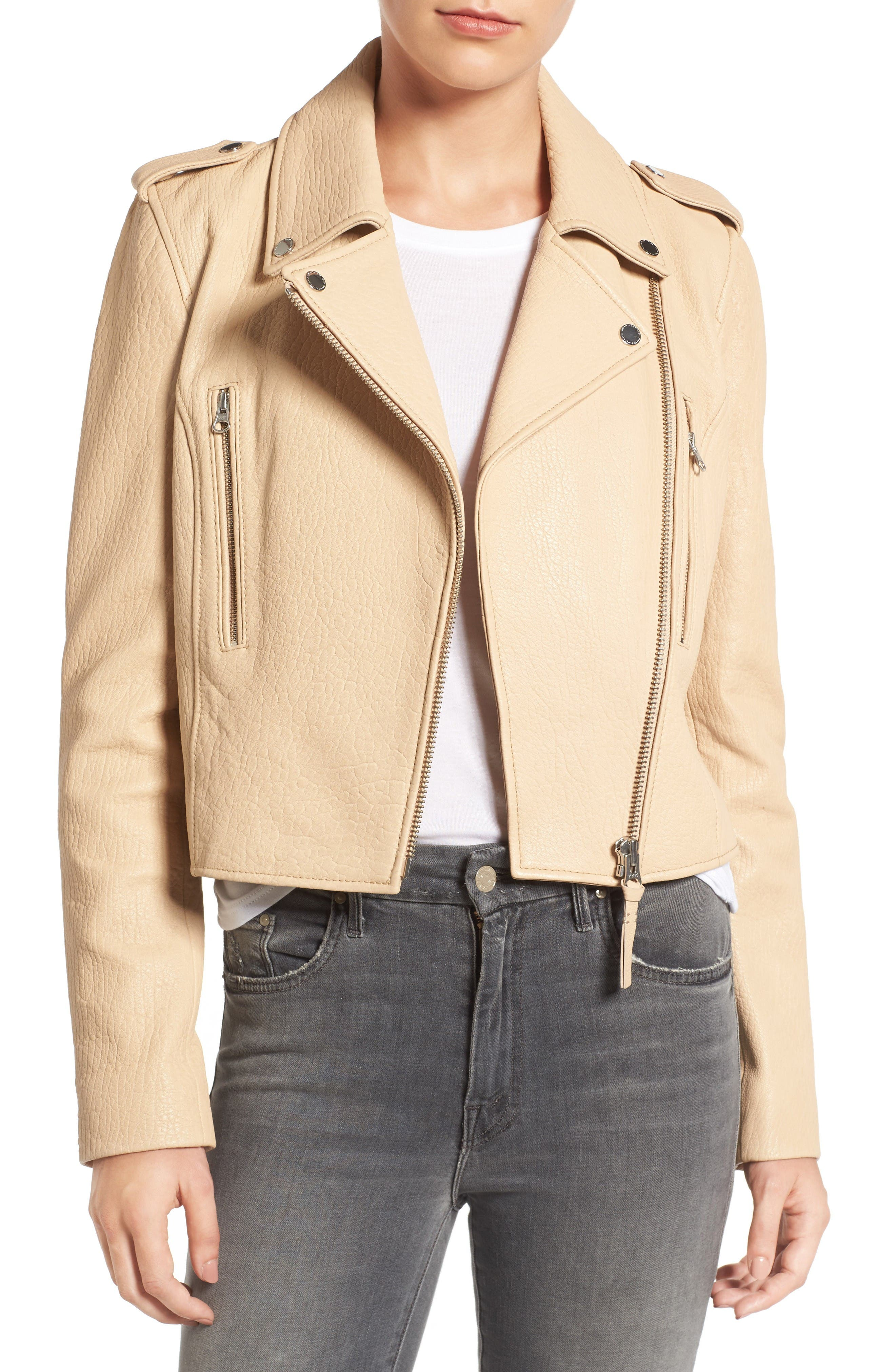 Leather Moto Jacket,                         Main,                         color, Butter