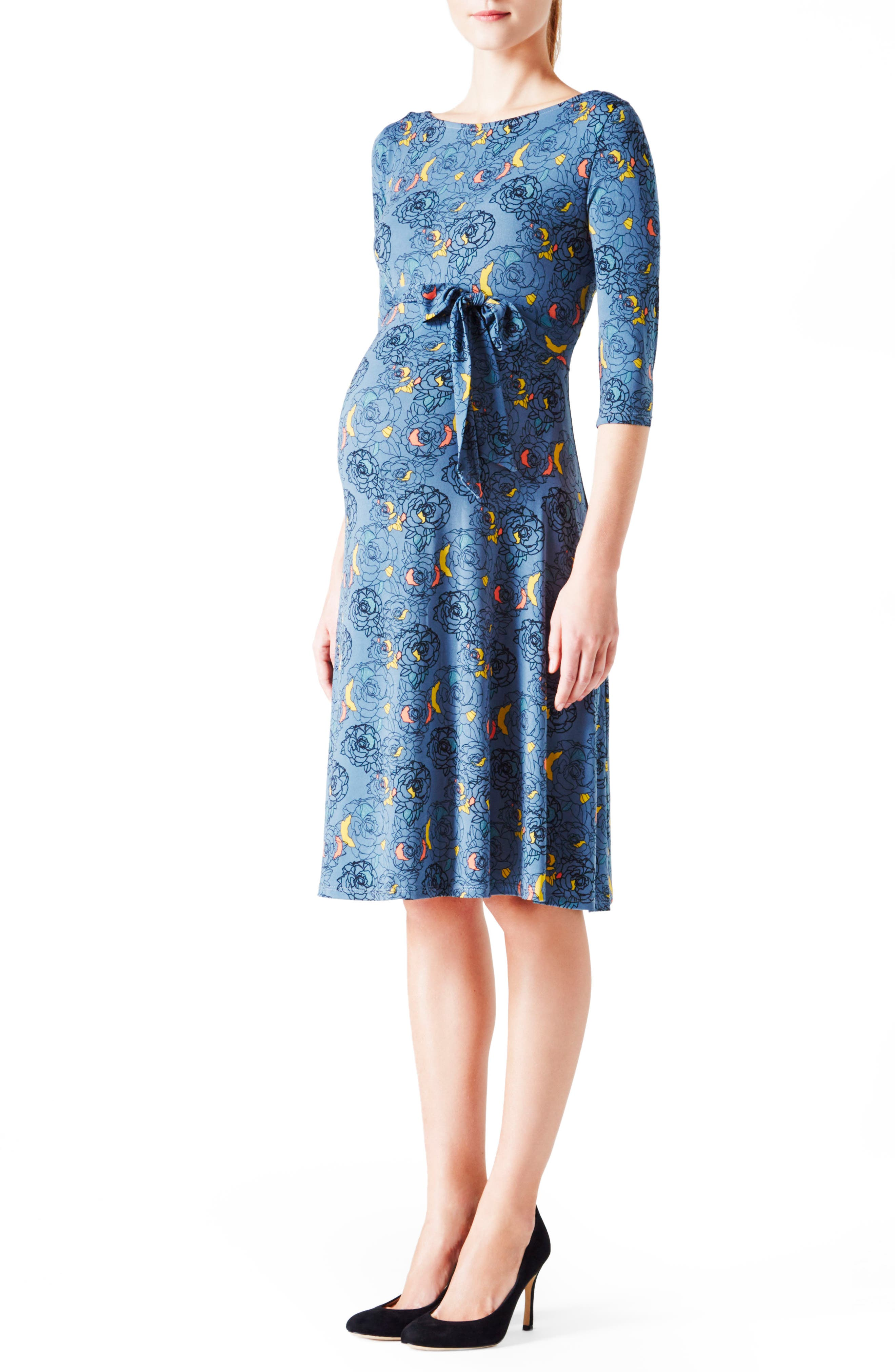 'Ilana' Belted Maternity Dress,                         Main,                         color, Fire Fly