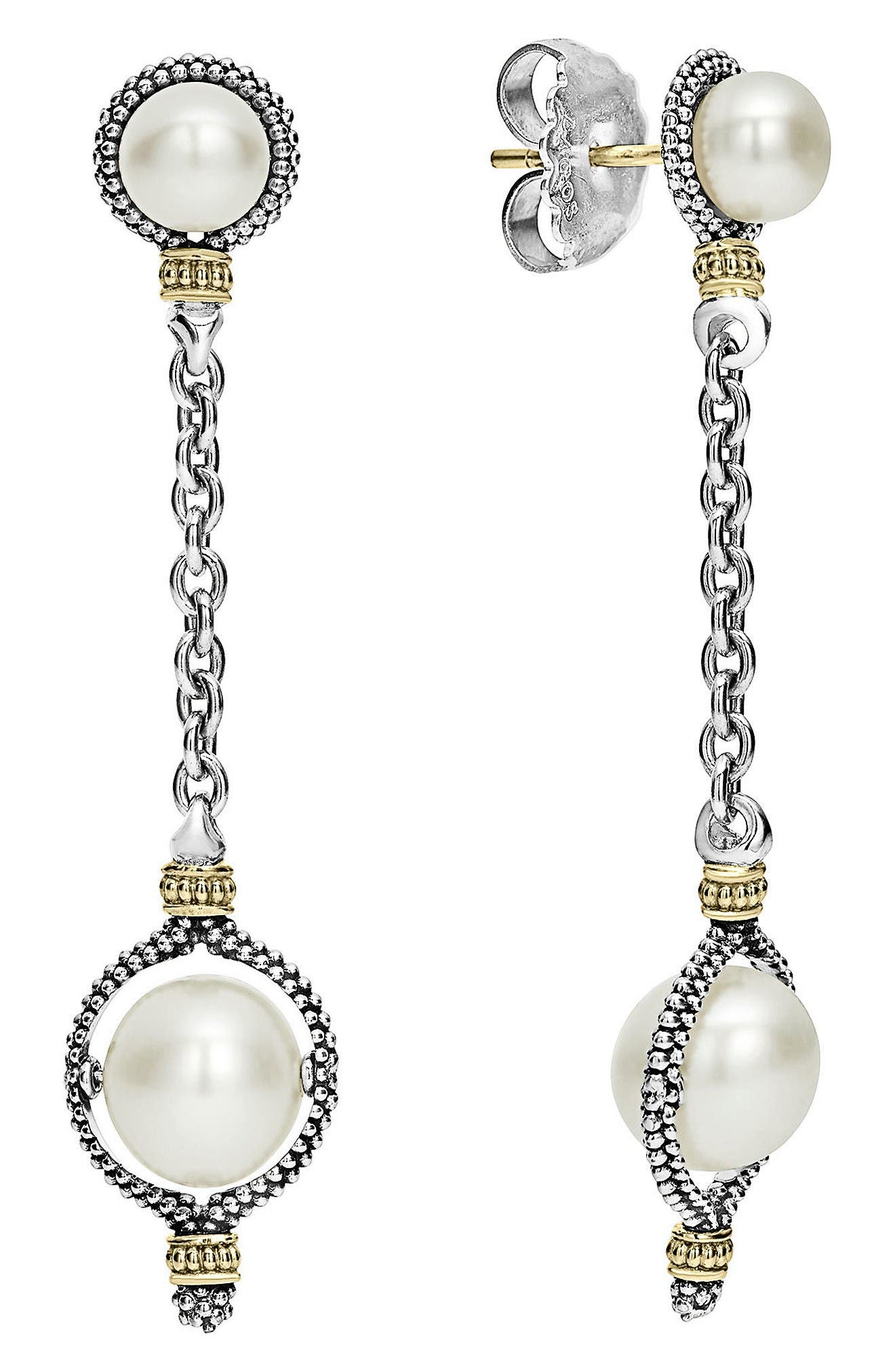 Luna Pearl Drop Earrings,                             Main thumbnail 1, color,                             Silver/ Pearl