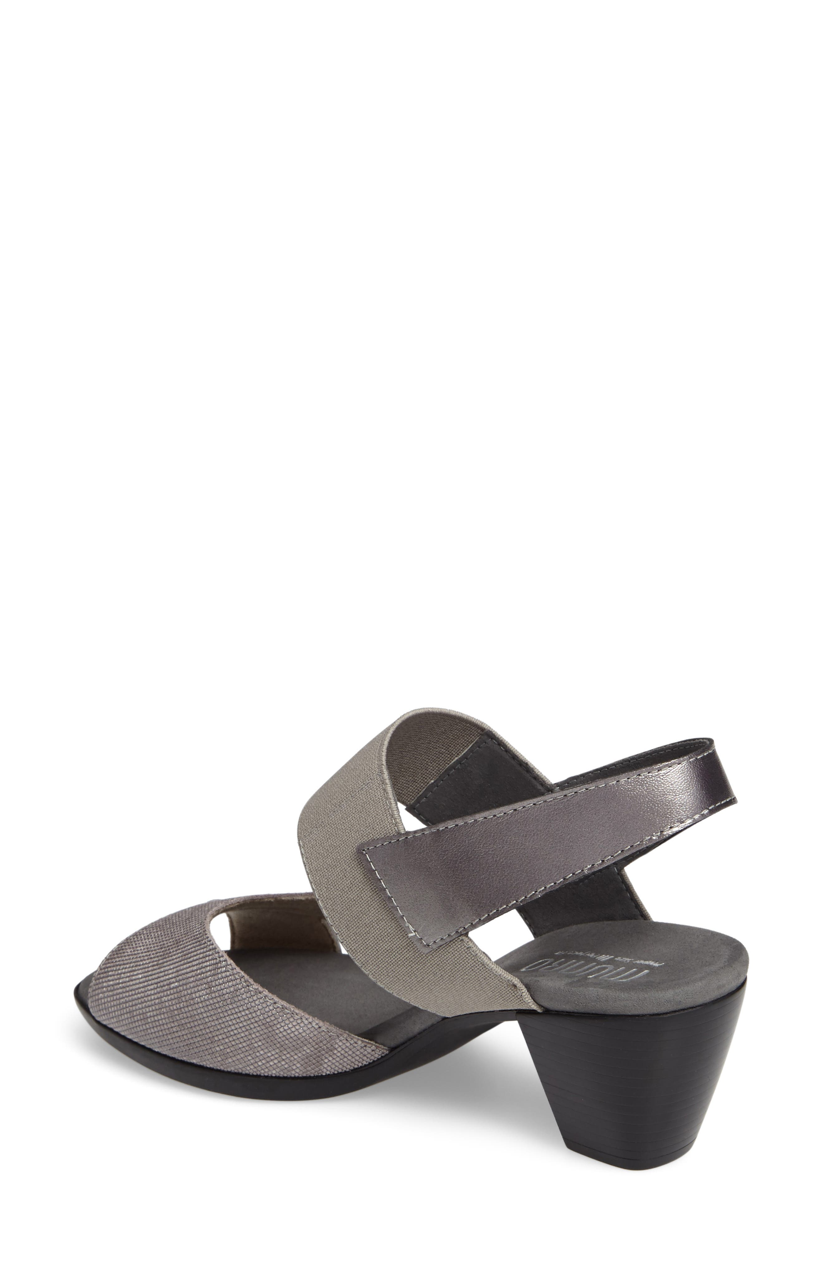 Darling Mixed Finish Slingback Sandal,                             Alternate thumbnail 2, color,                             Pewter Leather