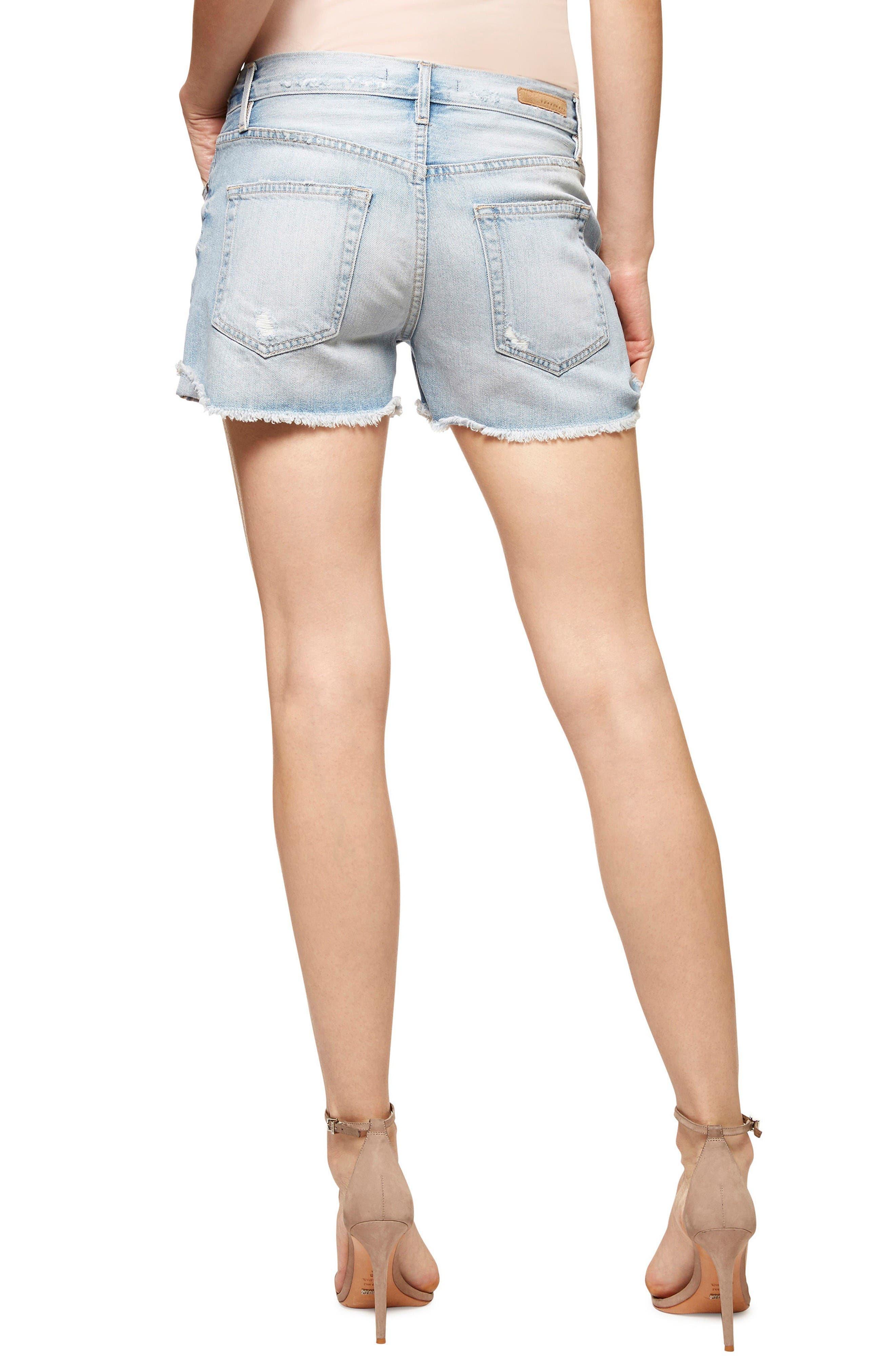 Chelsea Ripped Denim Shorts,                             Alternate thumbnail 2, color,                             Dakota Wash