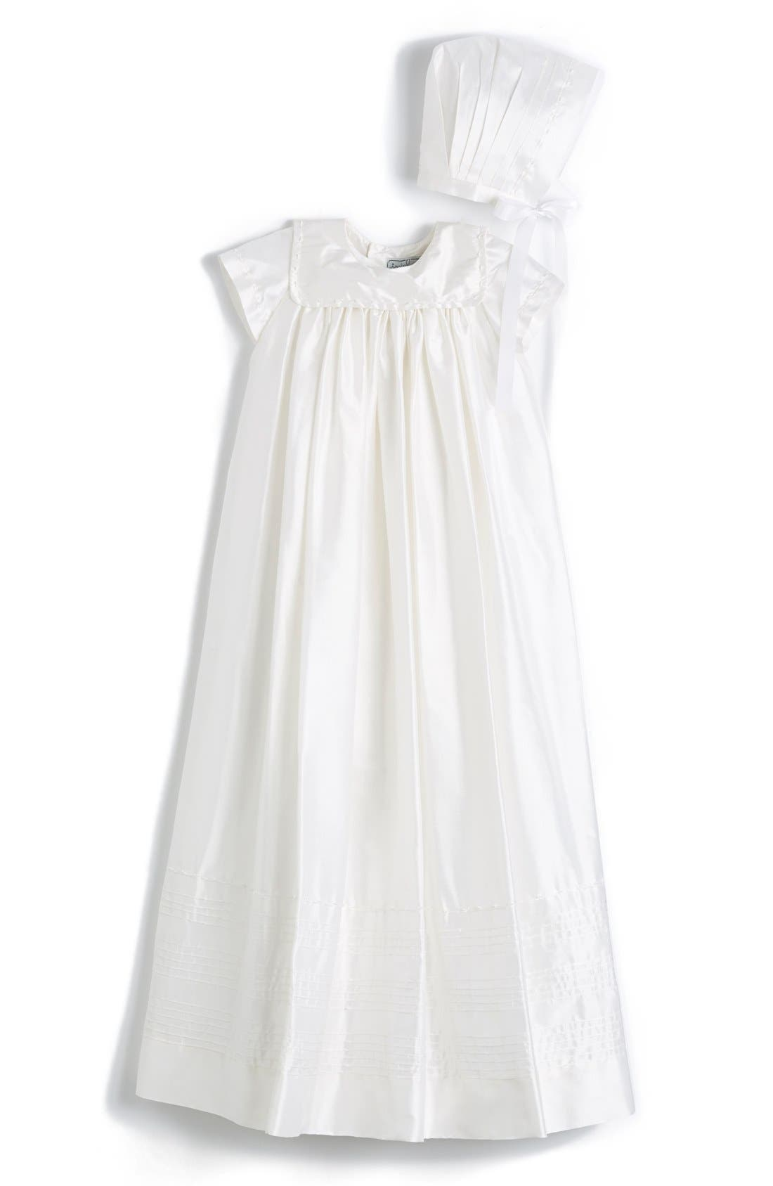 'Traditional' Silk Christening Gown & Bonnet,                         Main,                         color, White