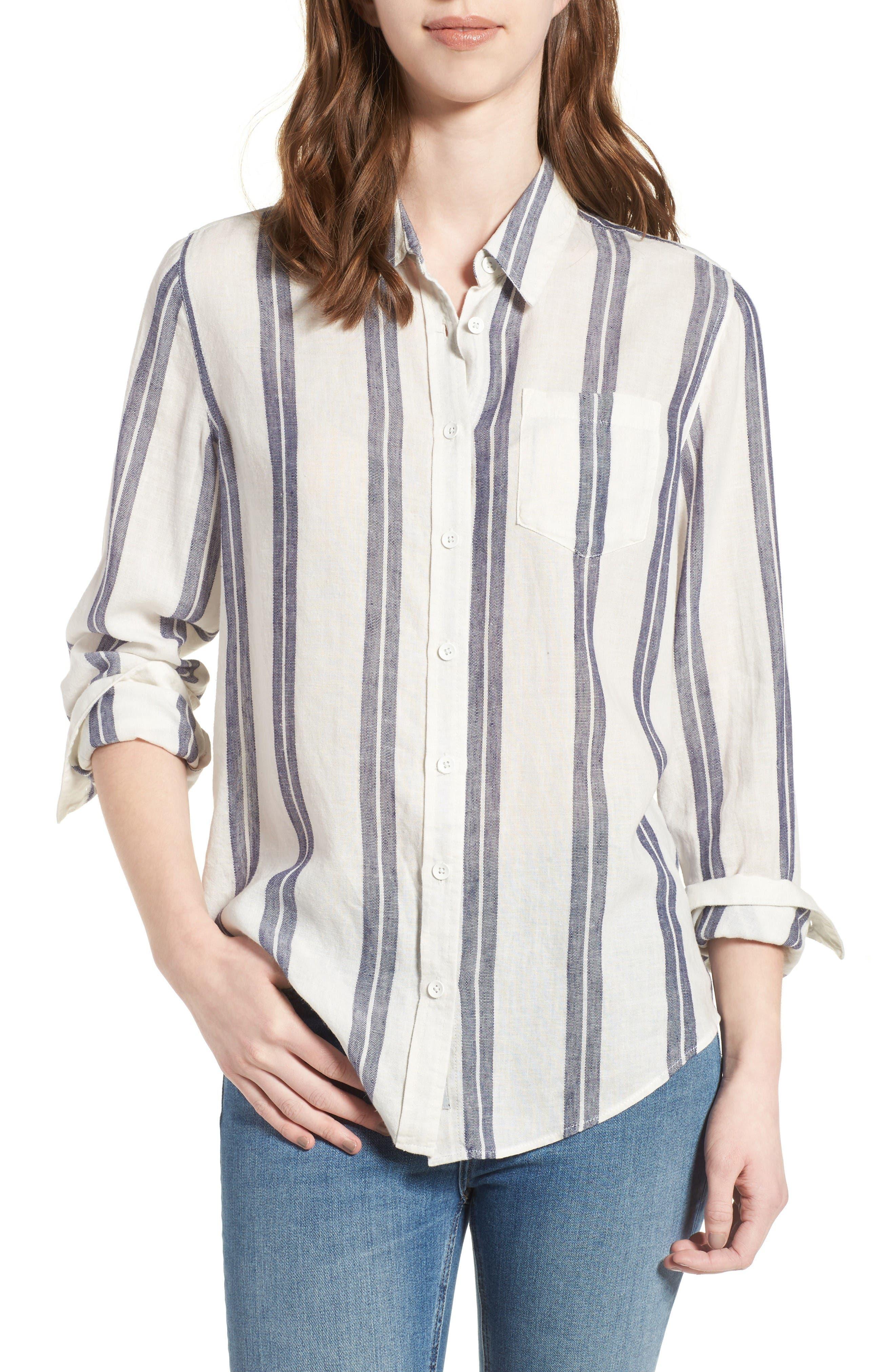 Mercer & Spring Shirt,                         Main,                         color, Blue/ Cream Stripes