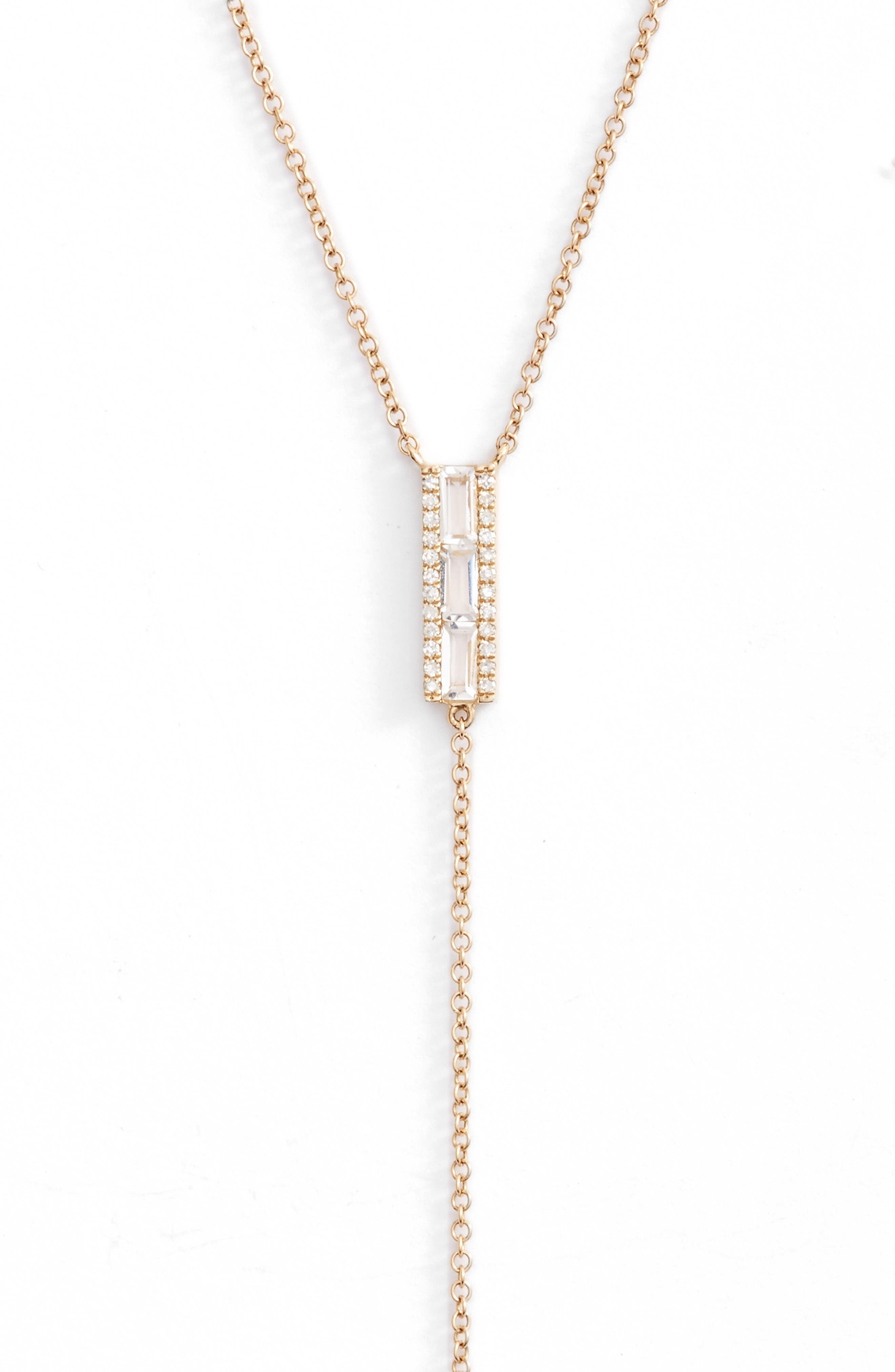 Diamond & Topaz Baguette Bar Y-Necklace,                         Main,                         color, Yellow Gold