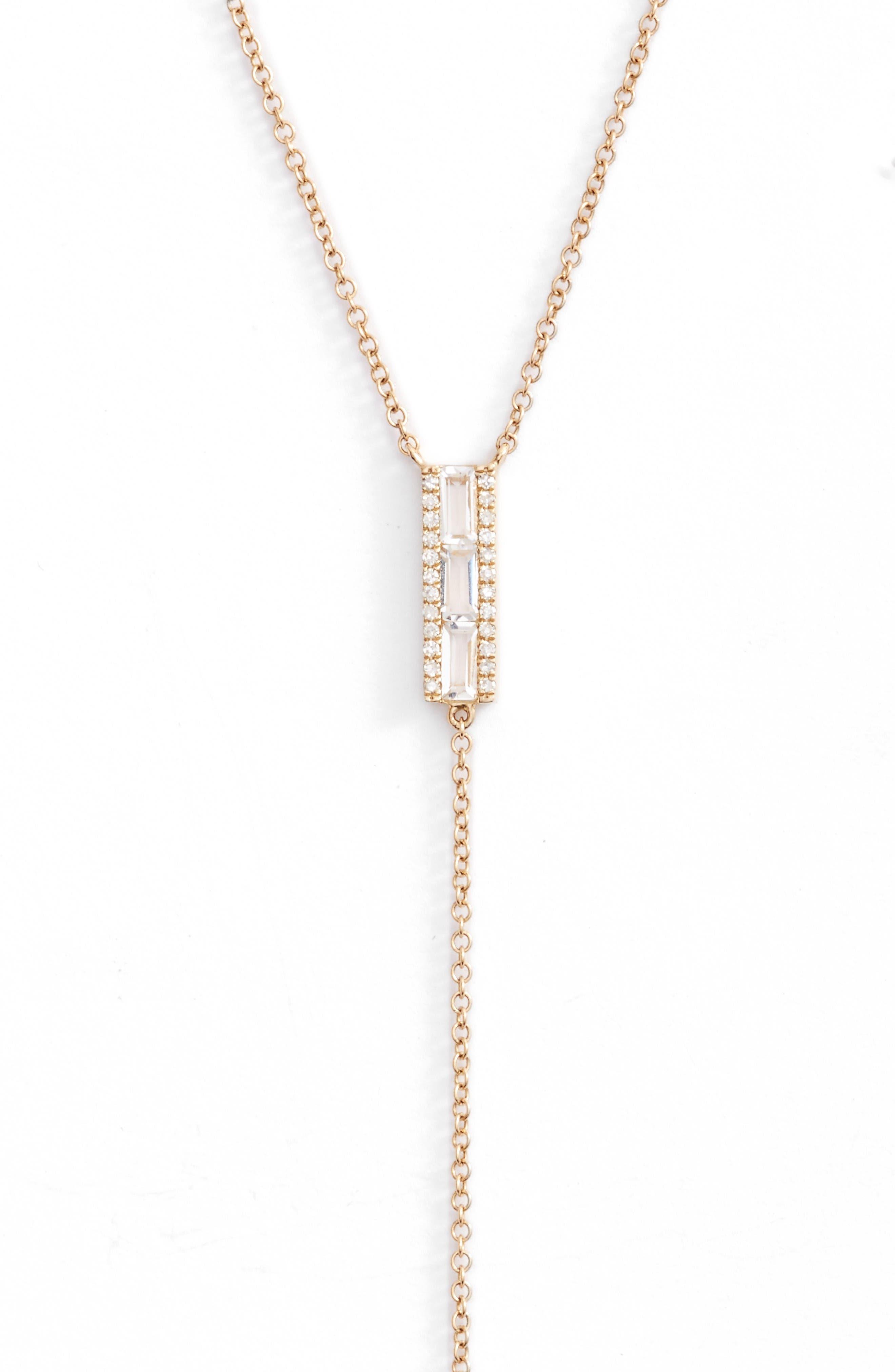 EF COLLECTION Diamond & Topaz Baguette Bar Y-Necklace