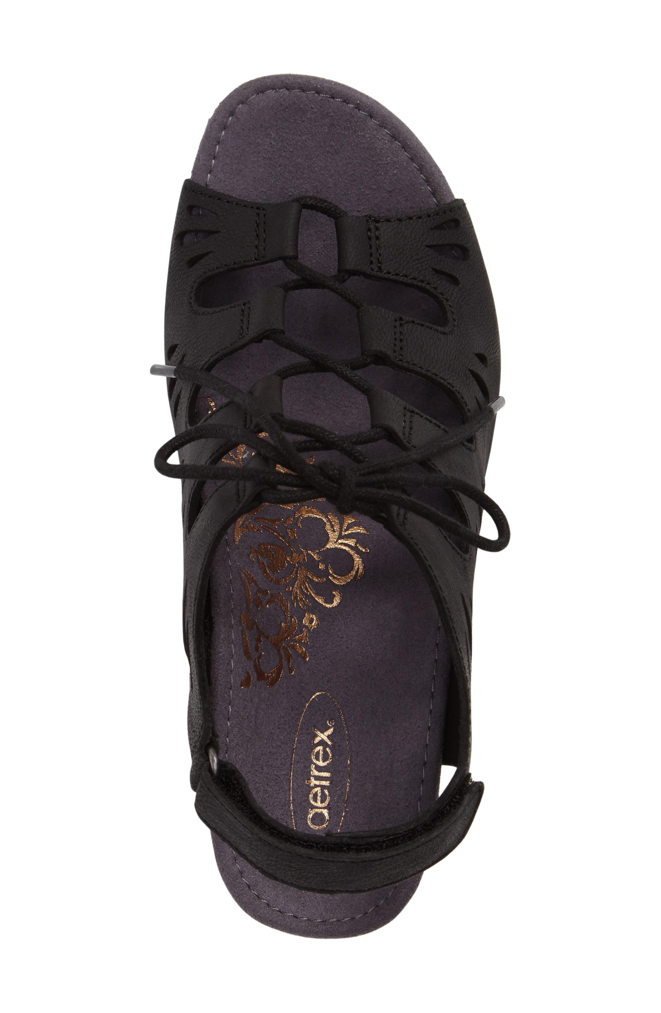 Giselle Slingback Wedge Sandal,                             Alternate thumbnail 5, color,                             Black Leather