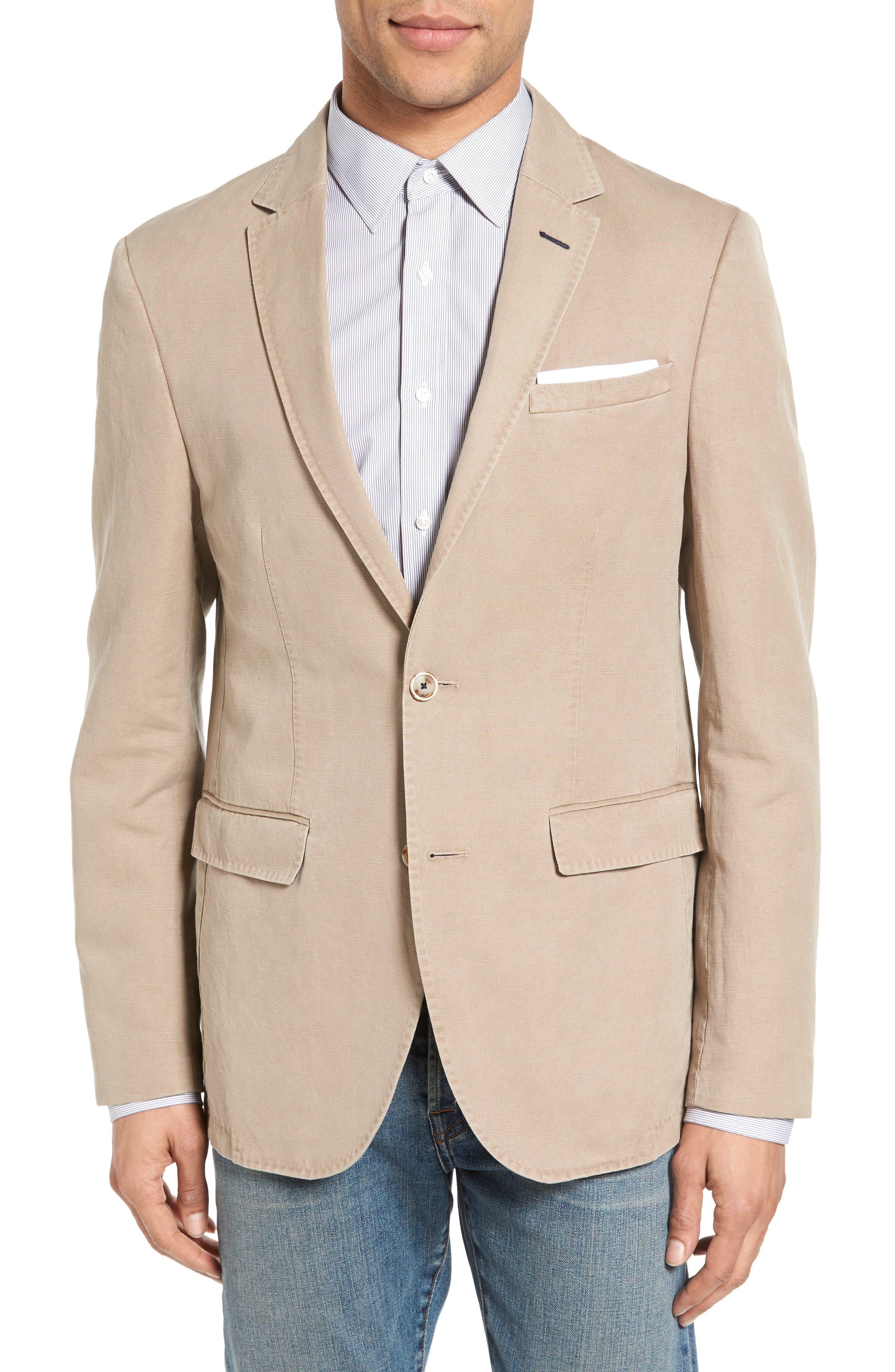 Main Image - Sand Trim Fit Cotton & Linen Blazer