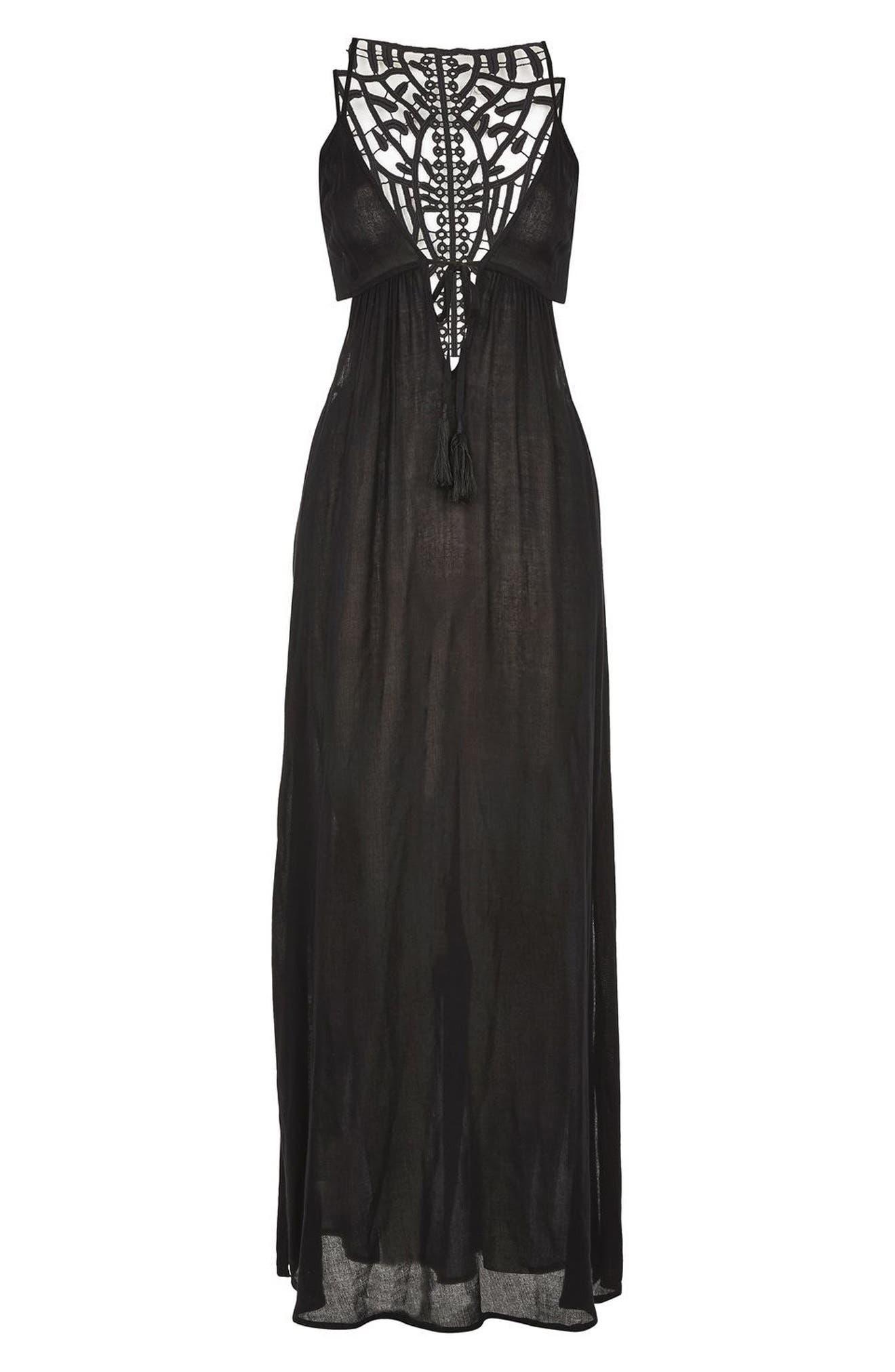 Crochet Back Cover-Up Maxi Dress,                         Main,                         color, Black