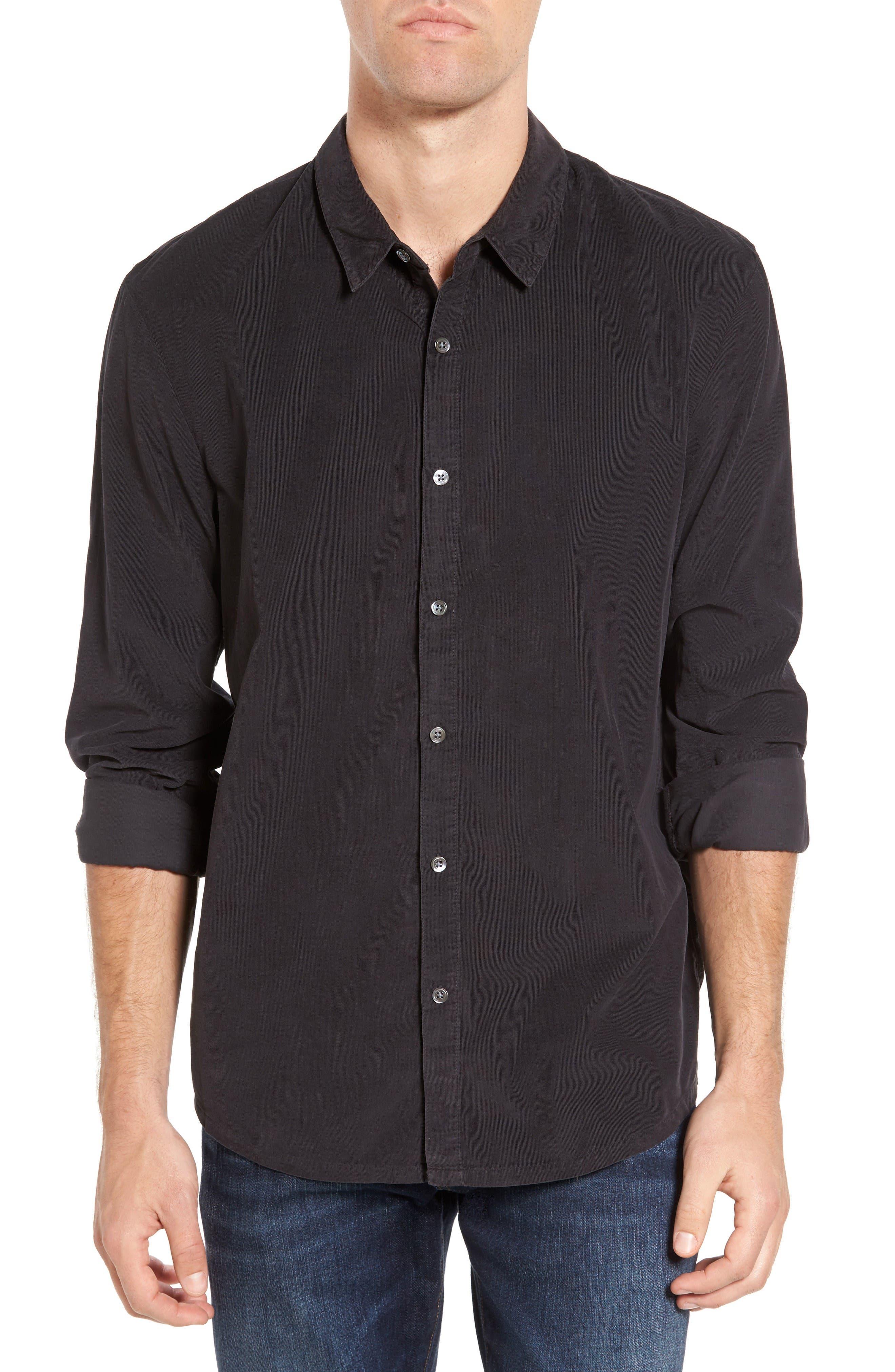 Corduroy Sport Shirt,                         Main,                         color, Carbon Pigment