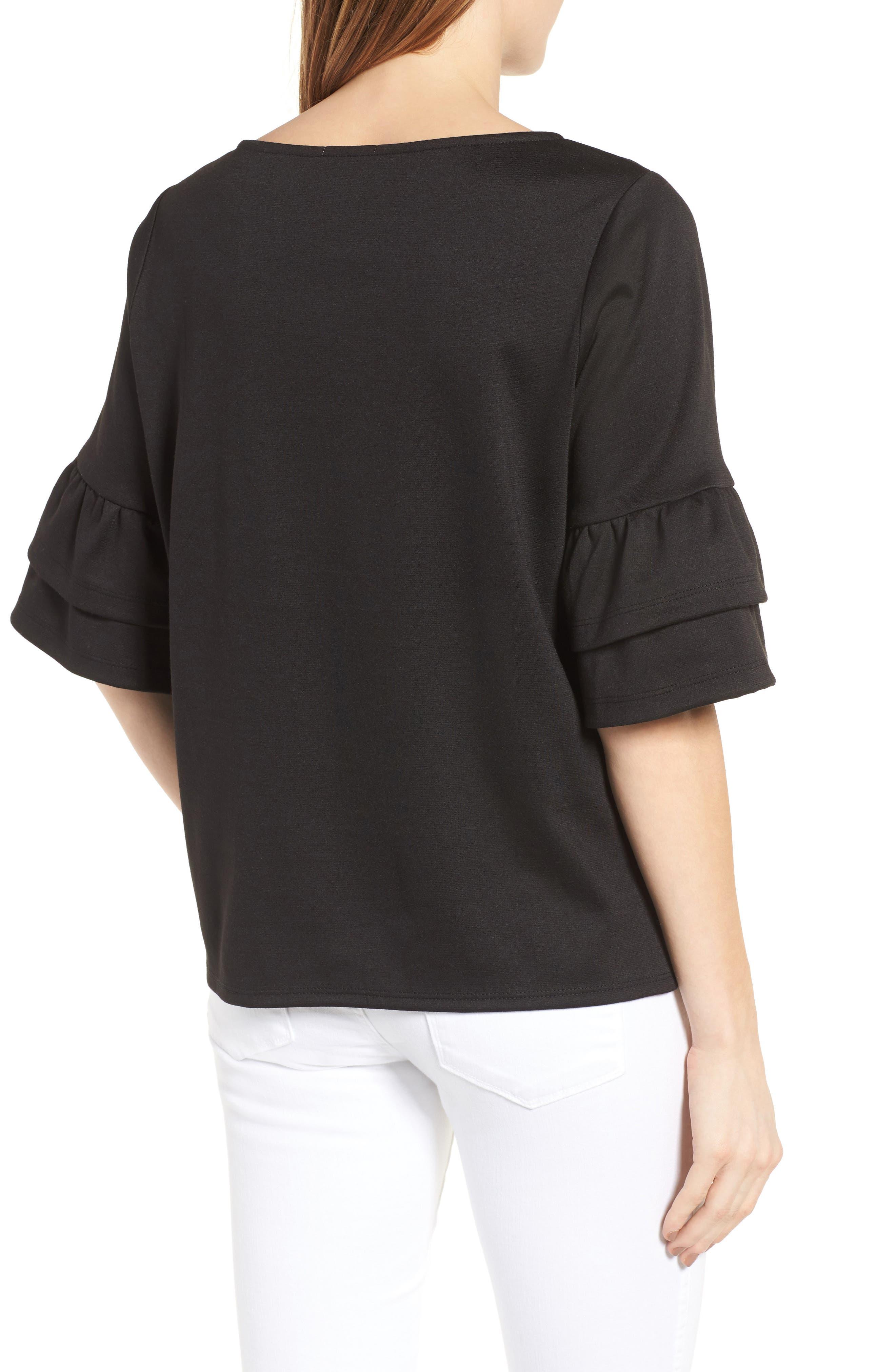 Alternate Image 2  - Halogen® Ruffle Sleeve Top (Regular & Petite)