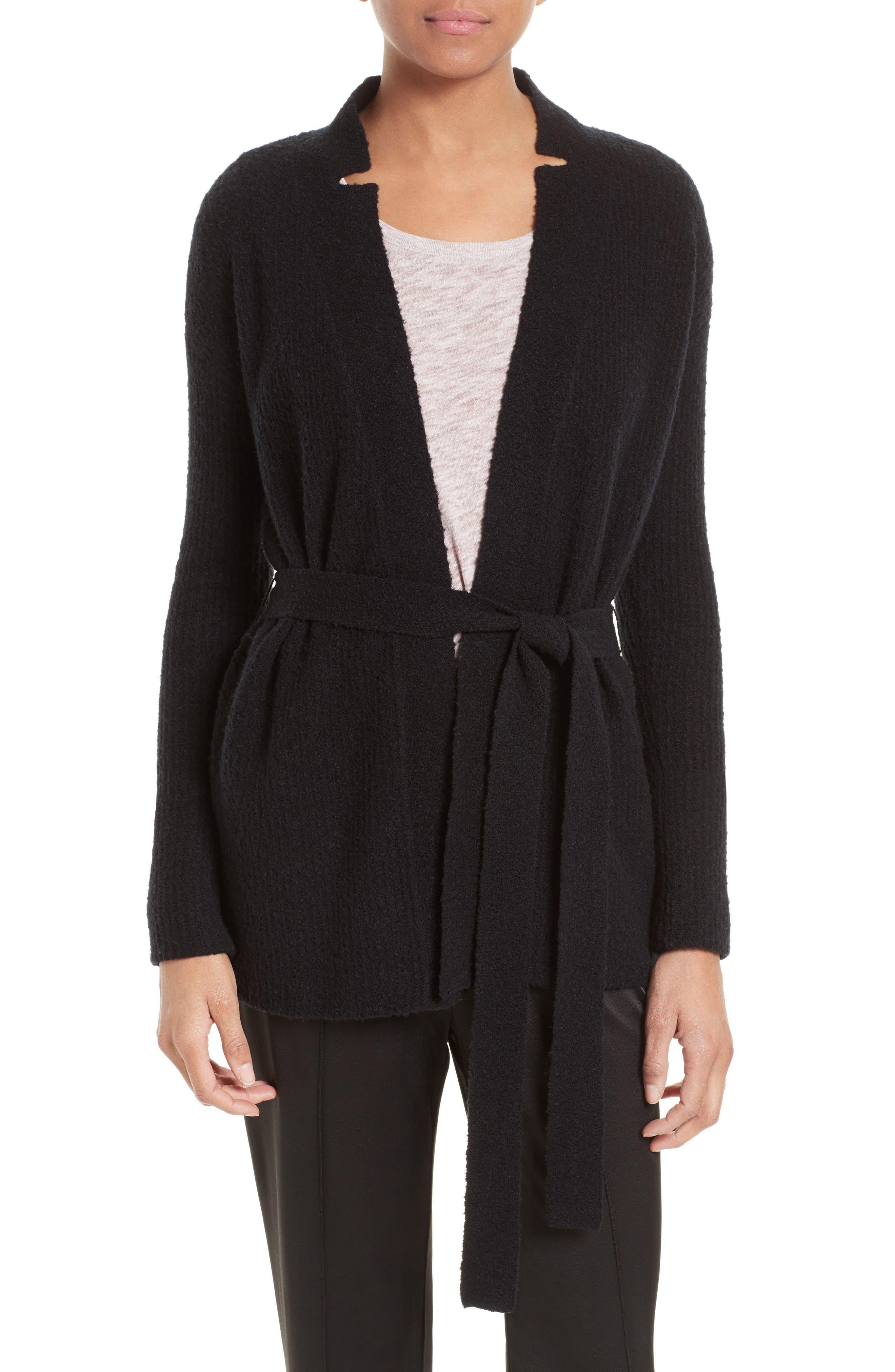 Wool Blend Belted Cardigan,                         Main,                         color, Black