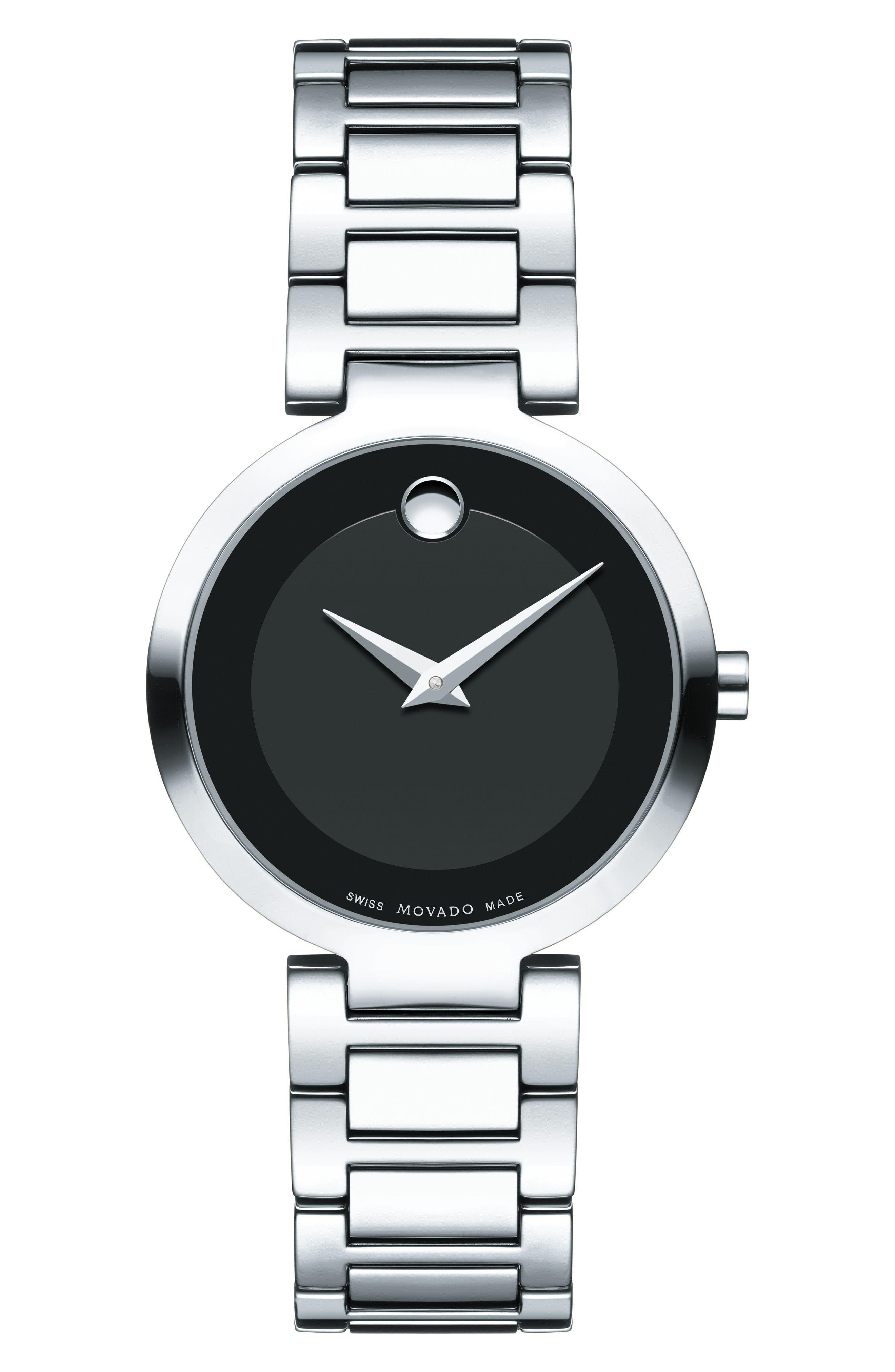 Modern Classic Bracelet Watch, 28mm,                         Main,                         color, Silver/ Black/ Silver