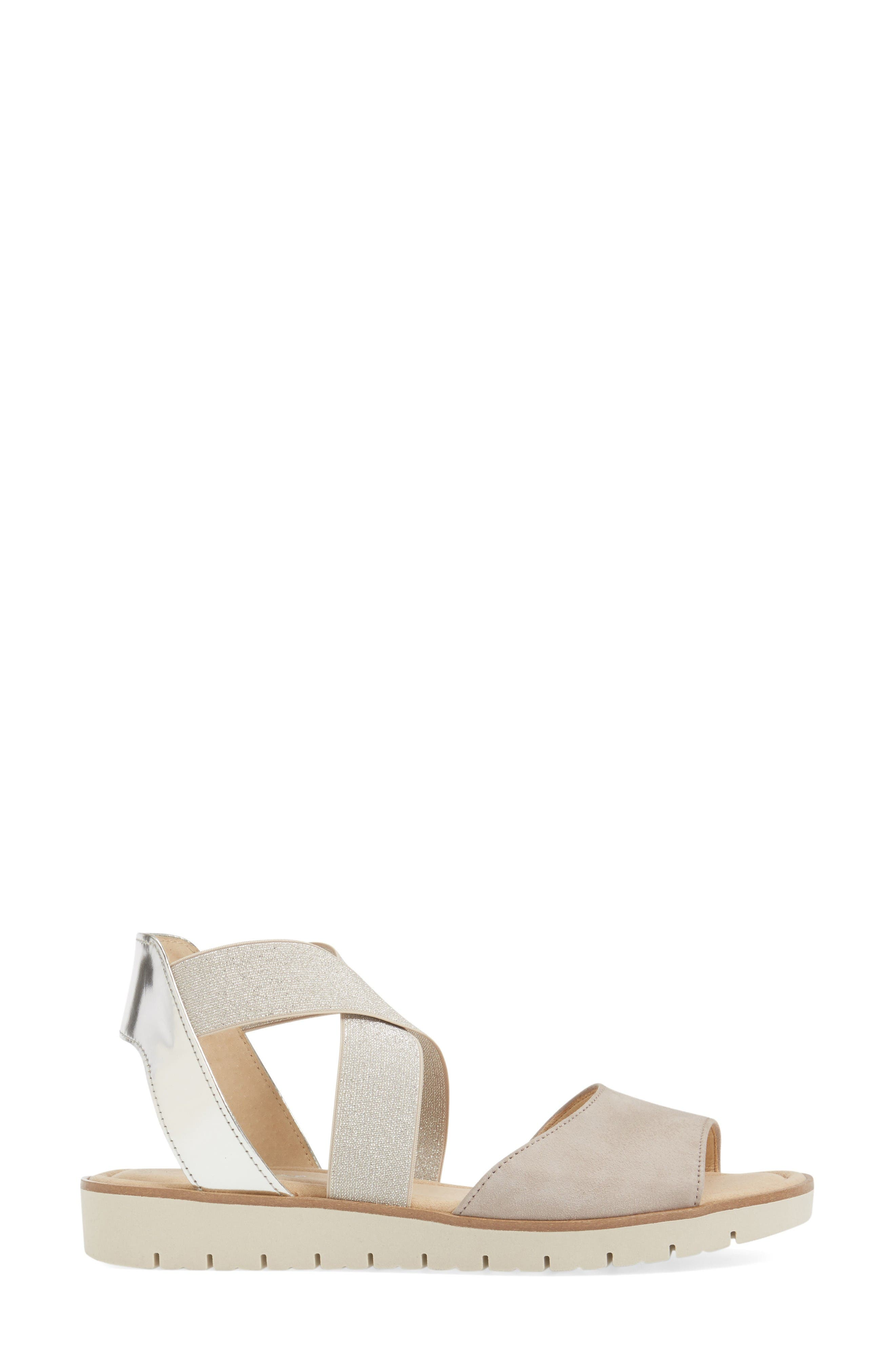 Strappy Sandal,                             Alternate thumbnail 3, color,                             Beige Leather