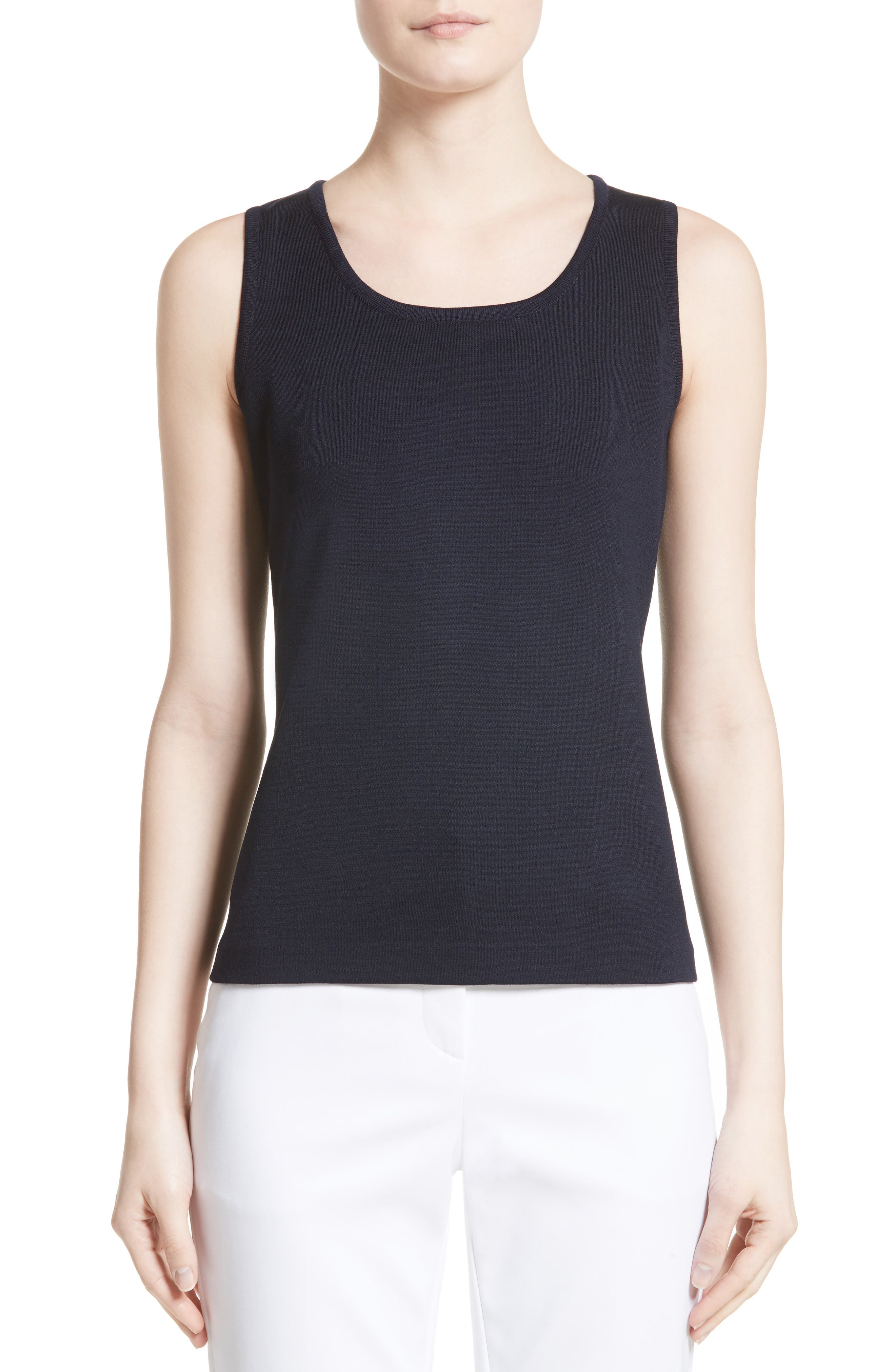 Milano Knit Contour Tank,                         Main,                         color, Navy