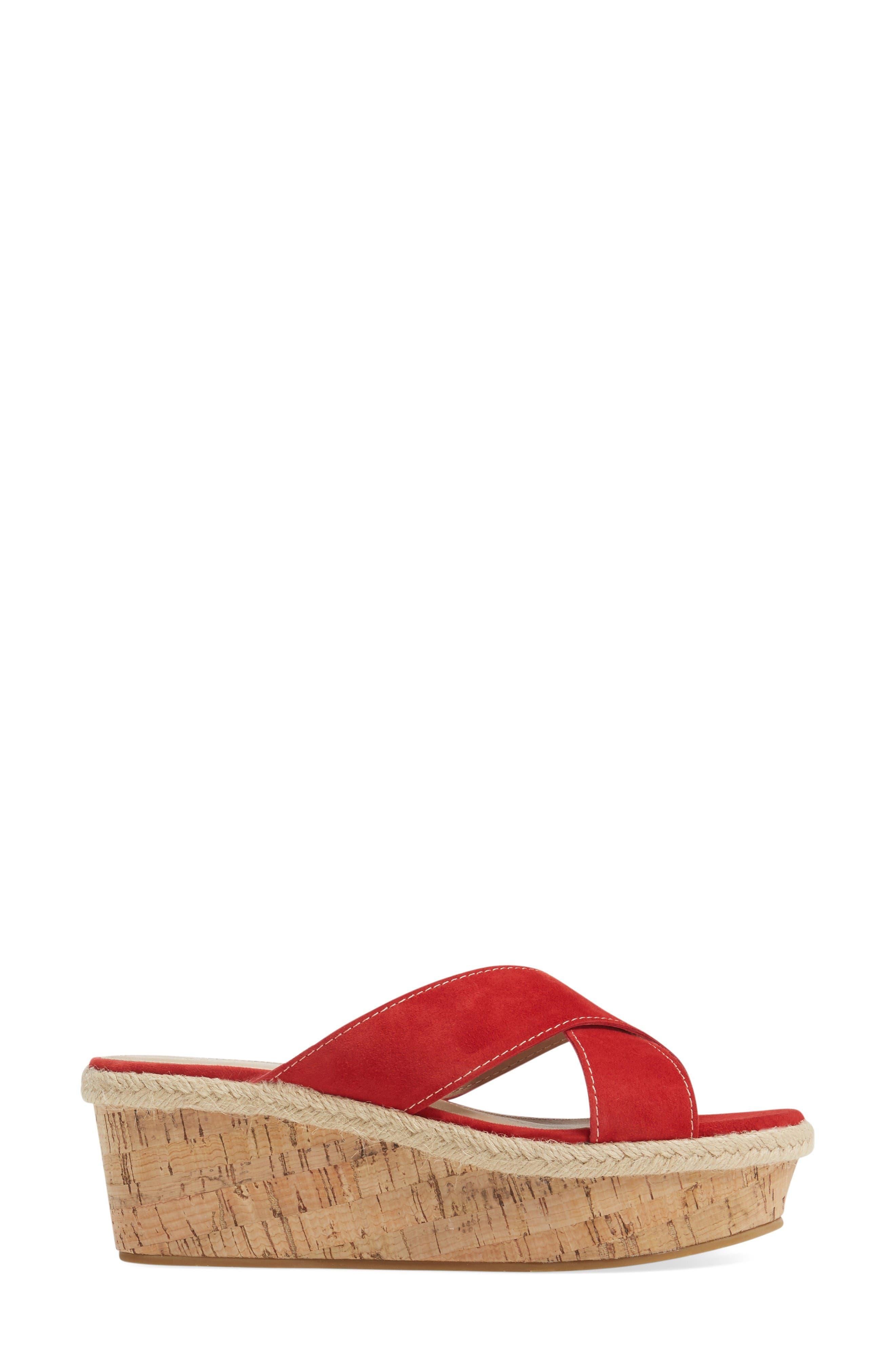 Harriet Platform Wedge Sandal,                             Alternate thumbnail 3, color,                             Lipstick Leather