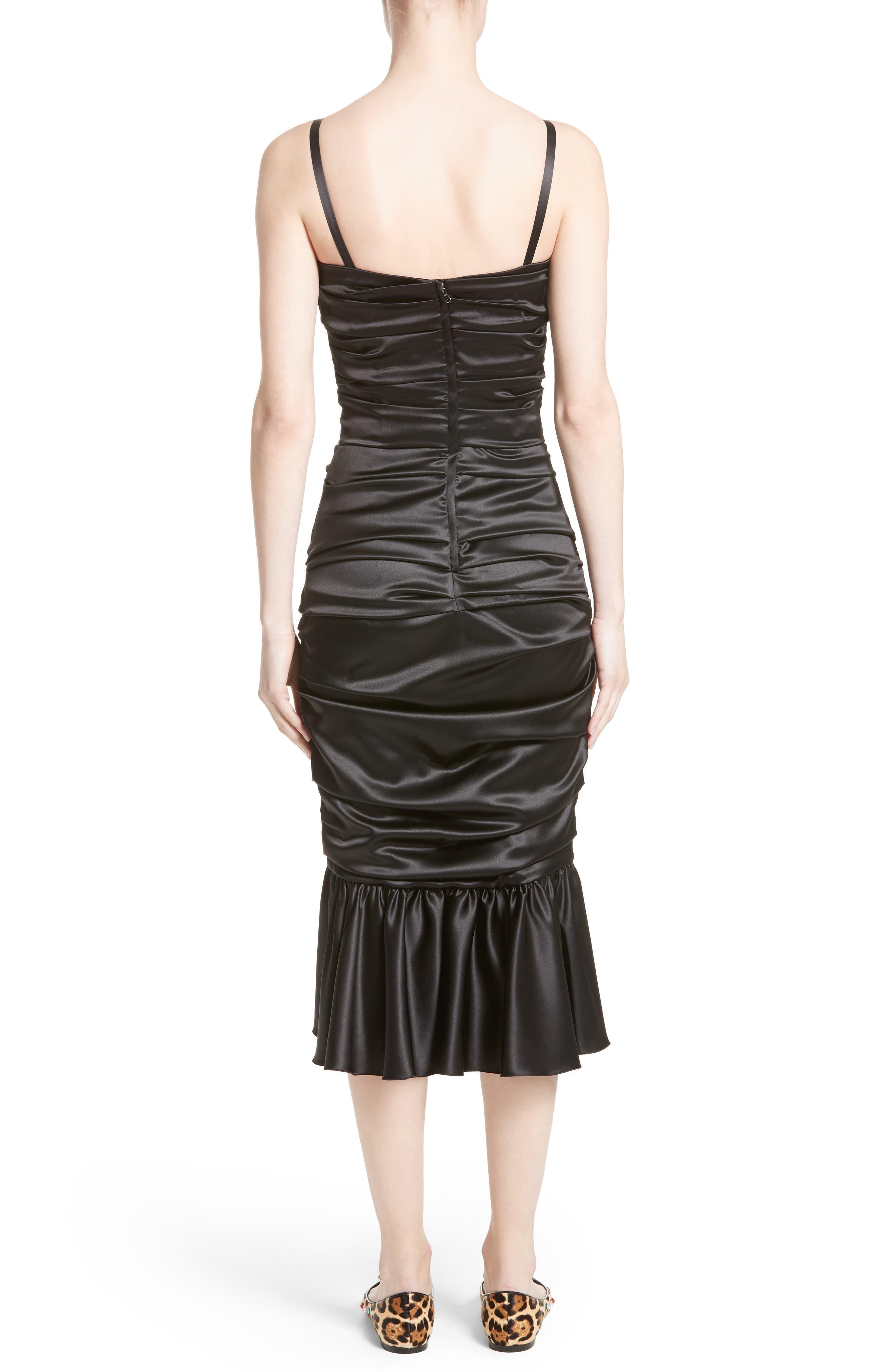 Ruched Stretch Satin Dress,                             Alternate thumbnail 2, color,                             Black